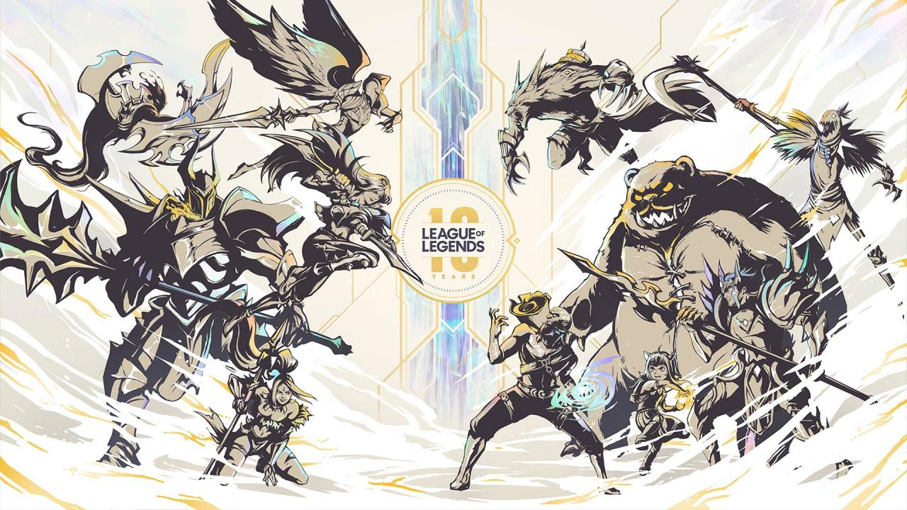 Several iconic League of Legends gather around the 10th anniversary logo for the game, in a gold and blue color scheme