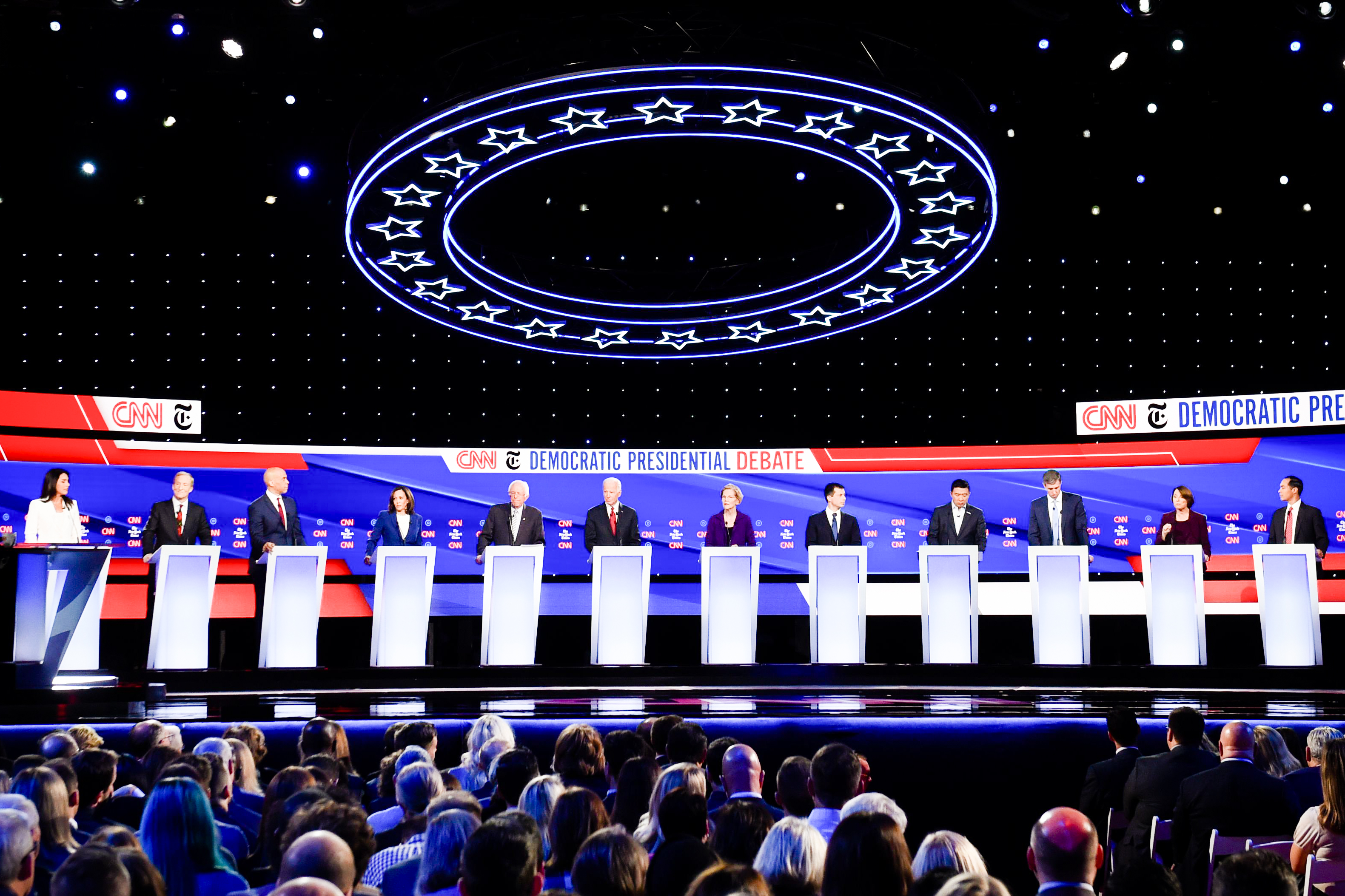 Twelve democratic presidential hopefuls on stage during the fourth Democratic primary debate of the 2020 presidential campaign season.