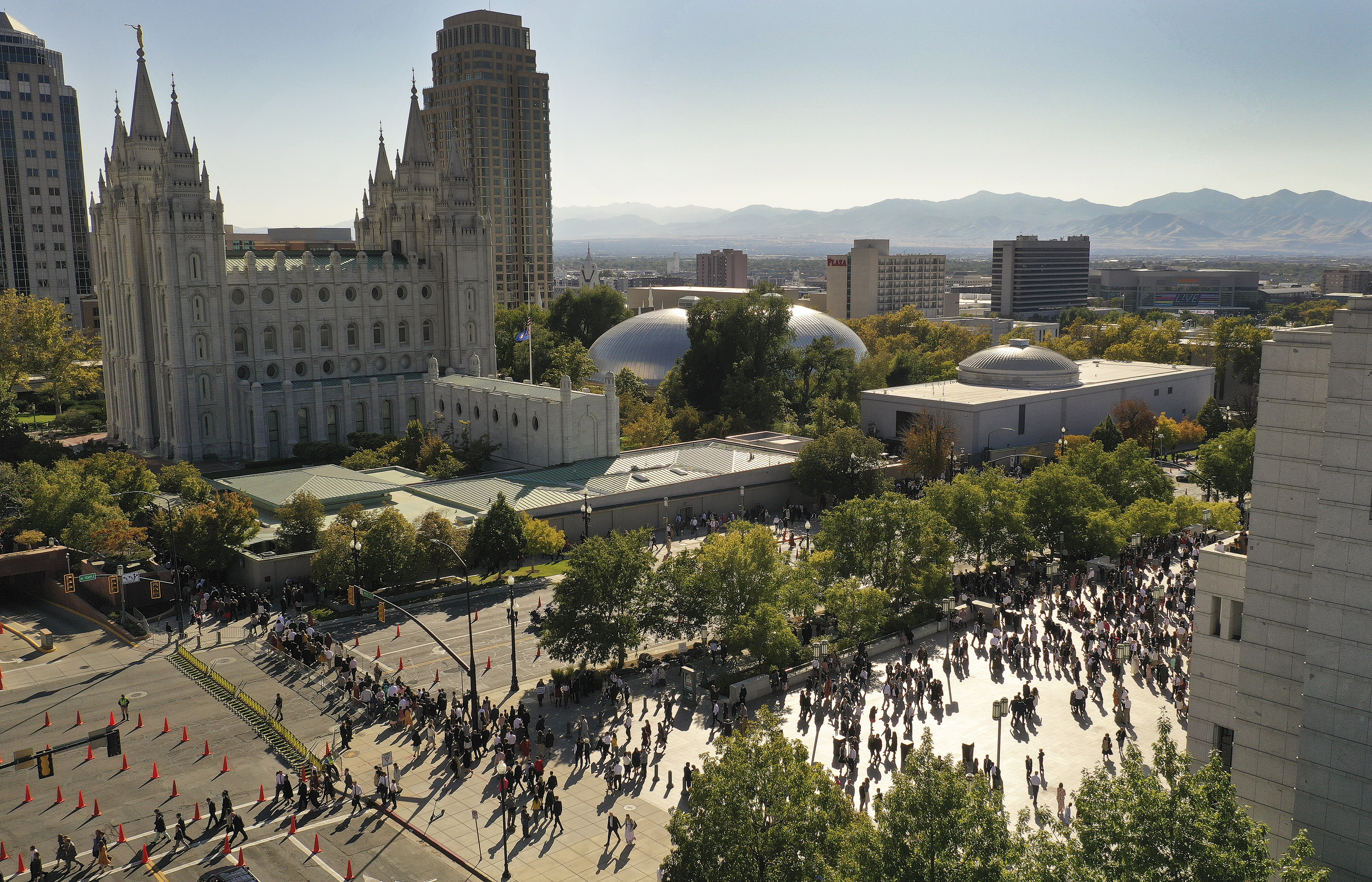 Attendees leave the 189th Semiannual General Conference of The Church of Jesus Christ of Latter-day Saints in Salt Lake City on Sunday, Oct. 6, 2019.