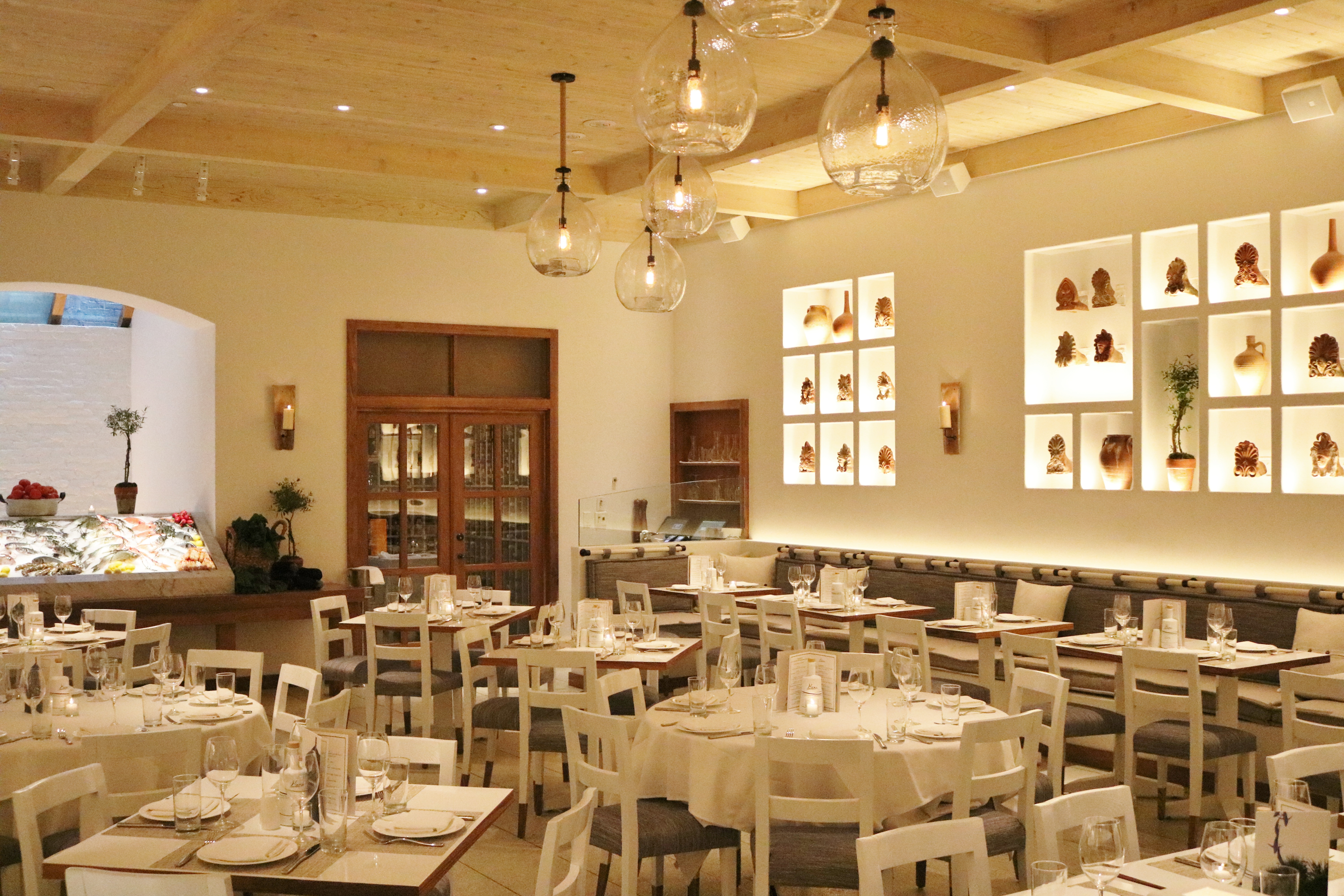 The big, white-filled dining room at Kyma