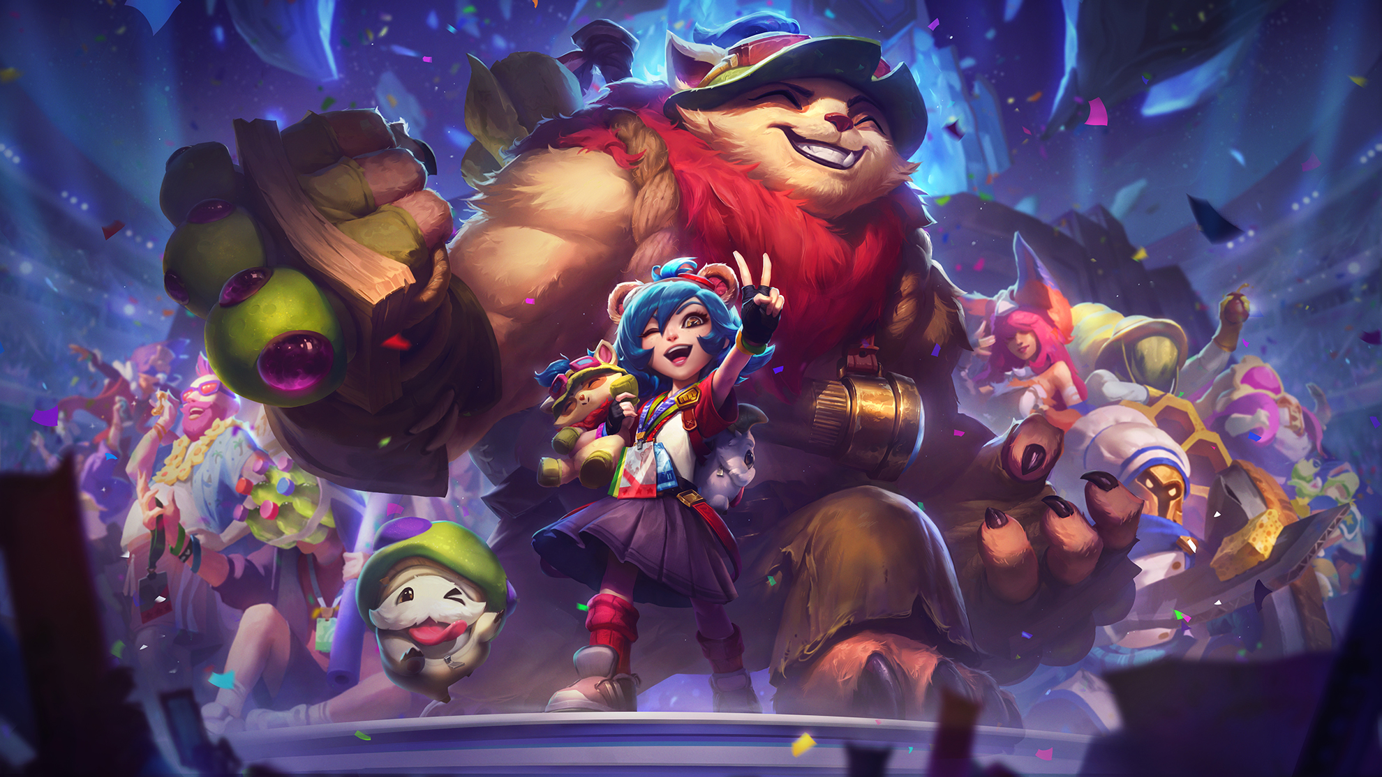 Annie poses while dressed up like Teemo in front of her Tibbers, which is a huge, ripped version of Teemo.