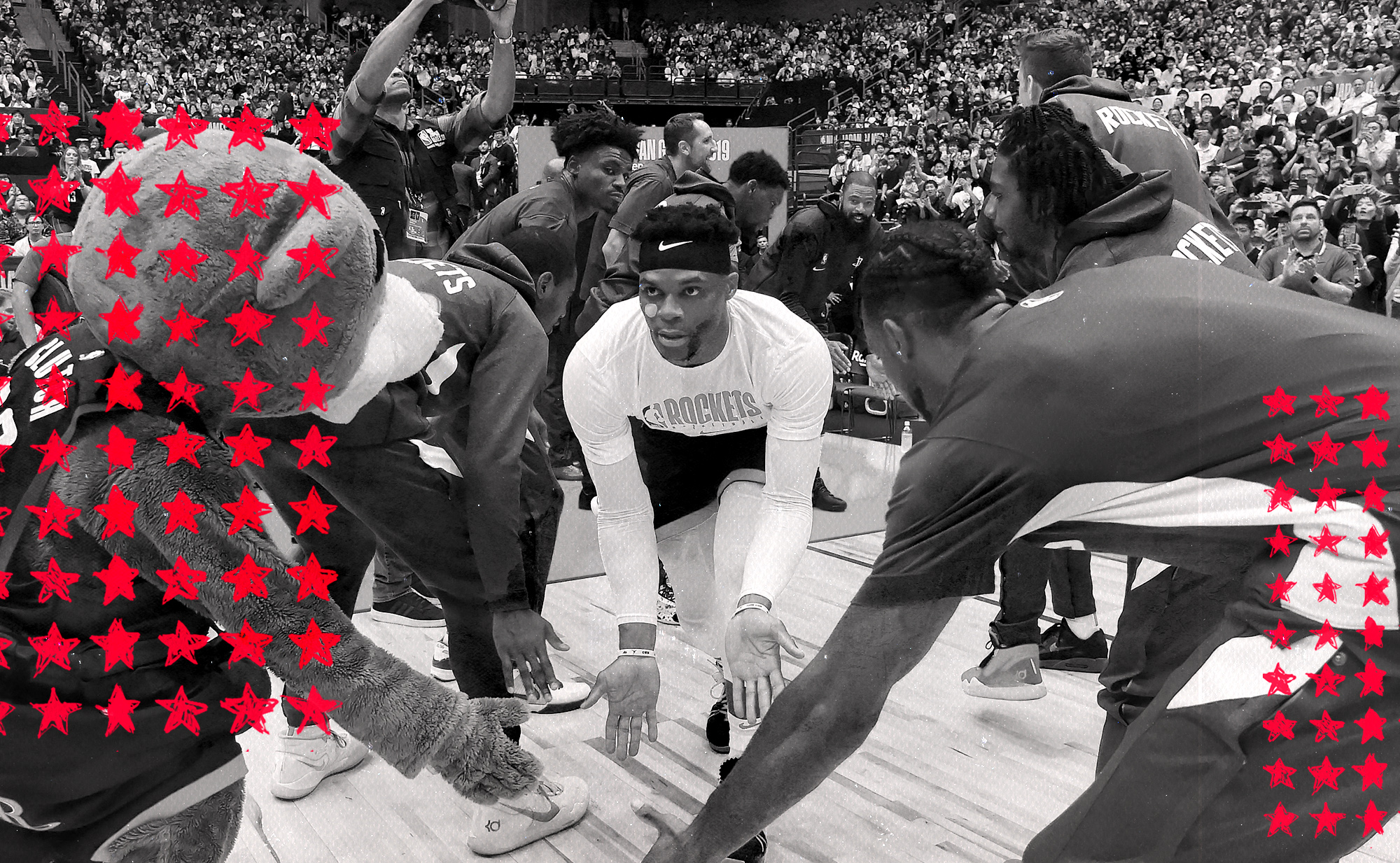 Russell Westbrook being introduced for the Rockets.