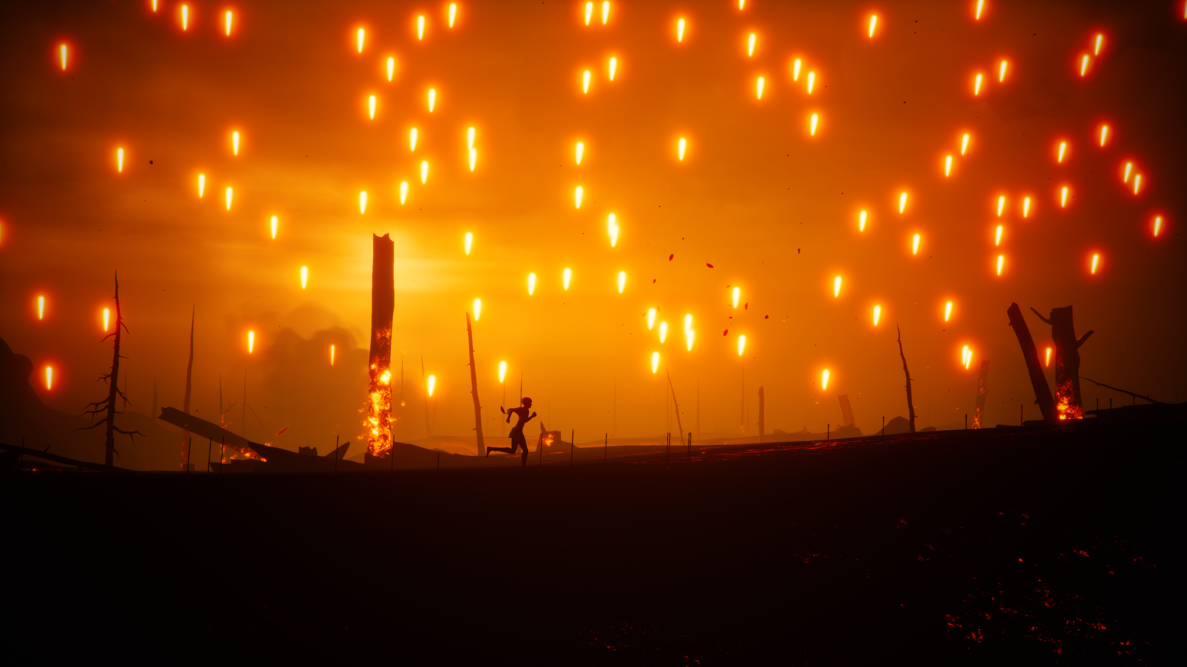 a young woman runs through a burning field, with flames falling from the sky, in Stela