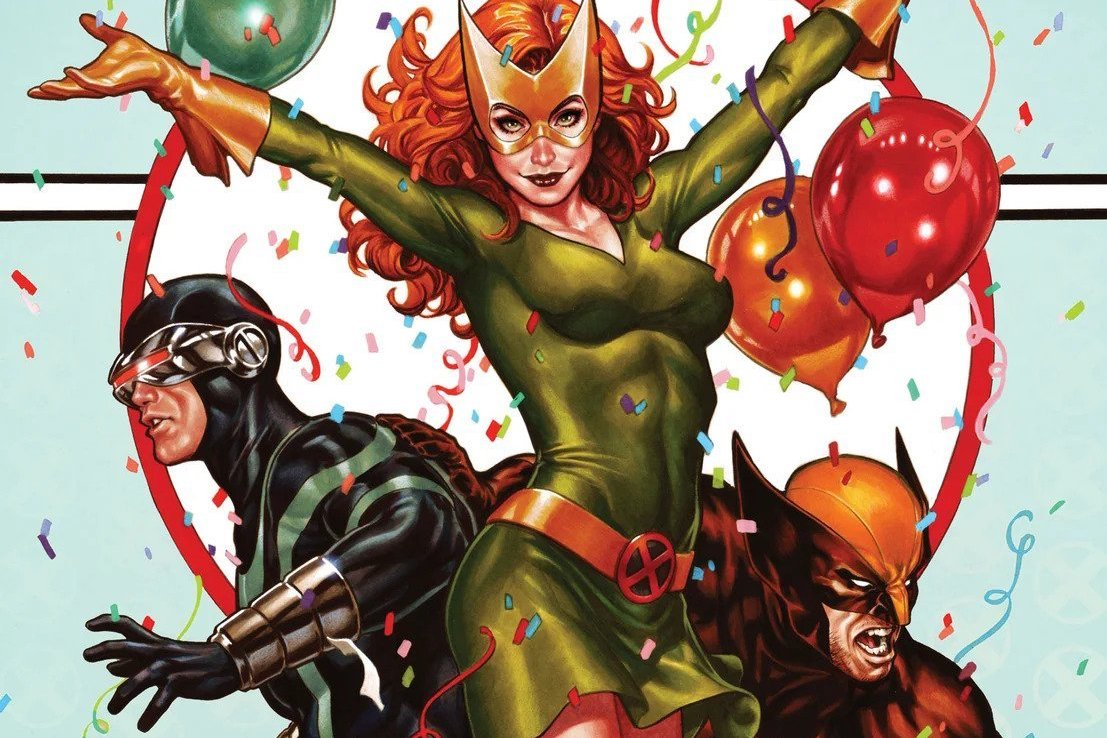 Cyclops, Jean Grey, Wolverine, and a lot of confetti, in a variant cover for X-Men #1, Marvel Comics (2019).