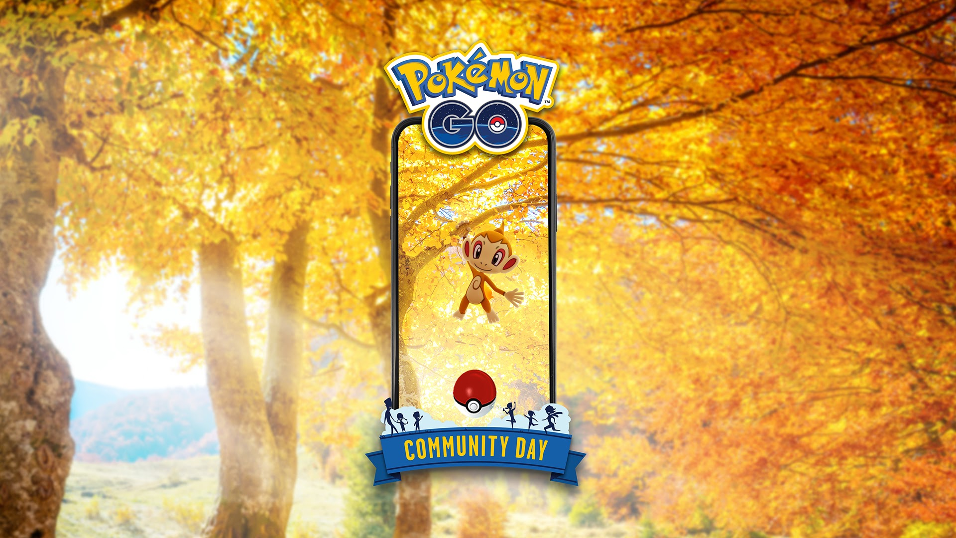 A Chimchar swings on the branch of a tree in an autumn-colored area