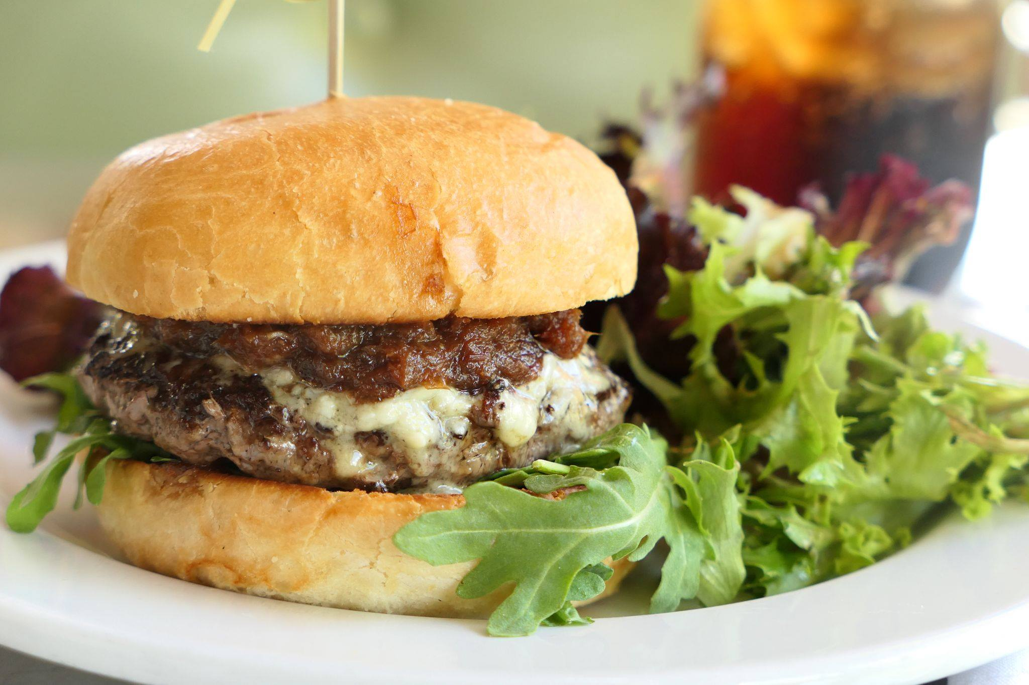 Close-up of a burger from Skillet