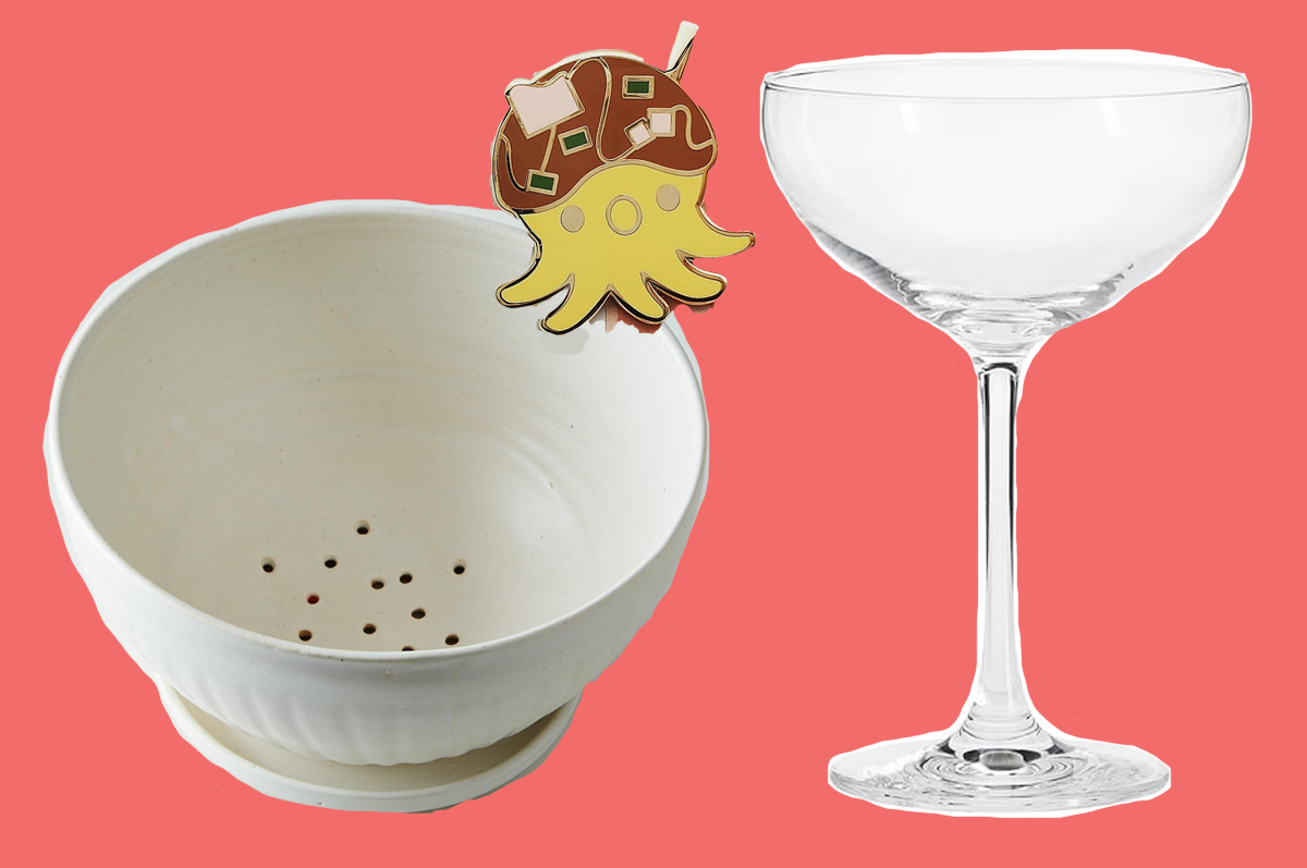 A berry bow, a takoyaki pin, and a coupe glass