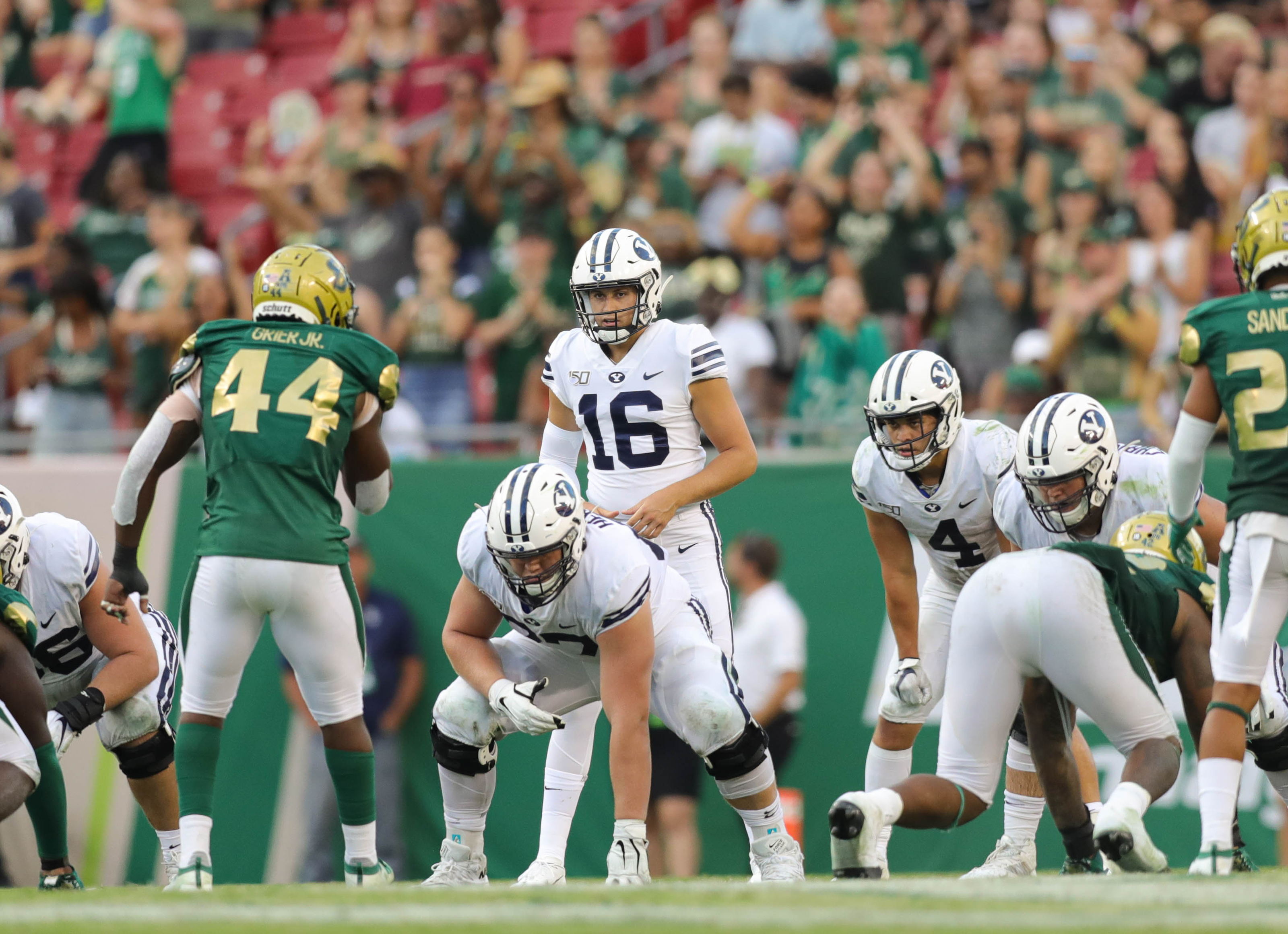 Third-string BYU quarterback Baylor Romney enters the game after Jaren Hall is injured in the fourth quarter against USF, in Tampa, Florida on Saturday, Oct. 12, 2019.