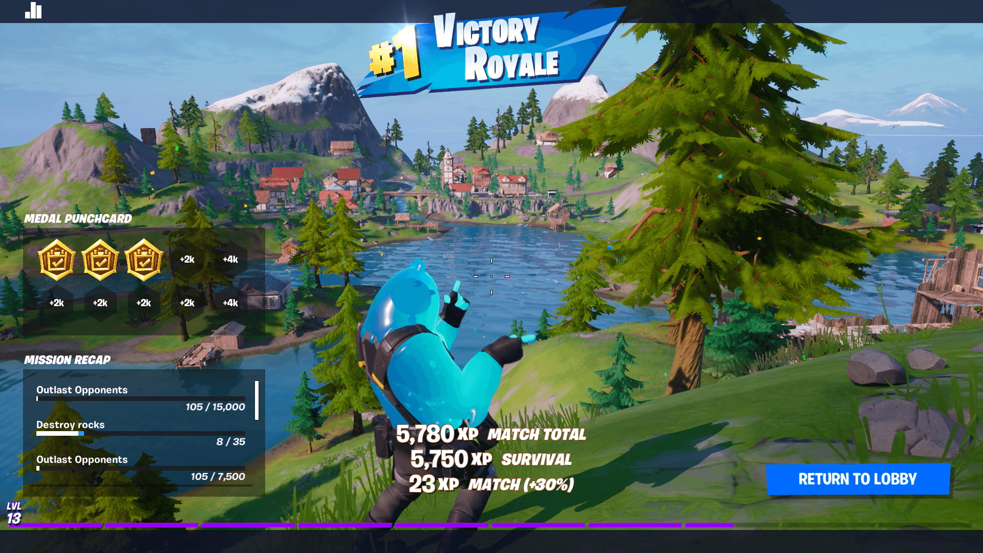 A look at the Victory Royale screen for winning a match in Fortnite.