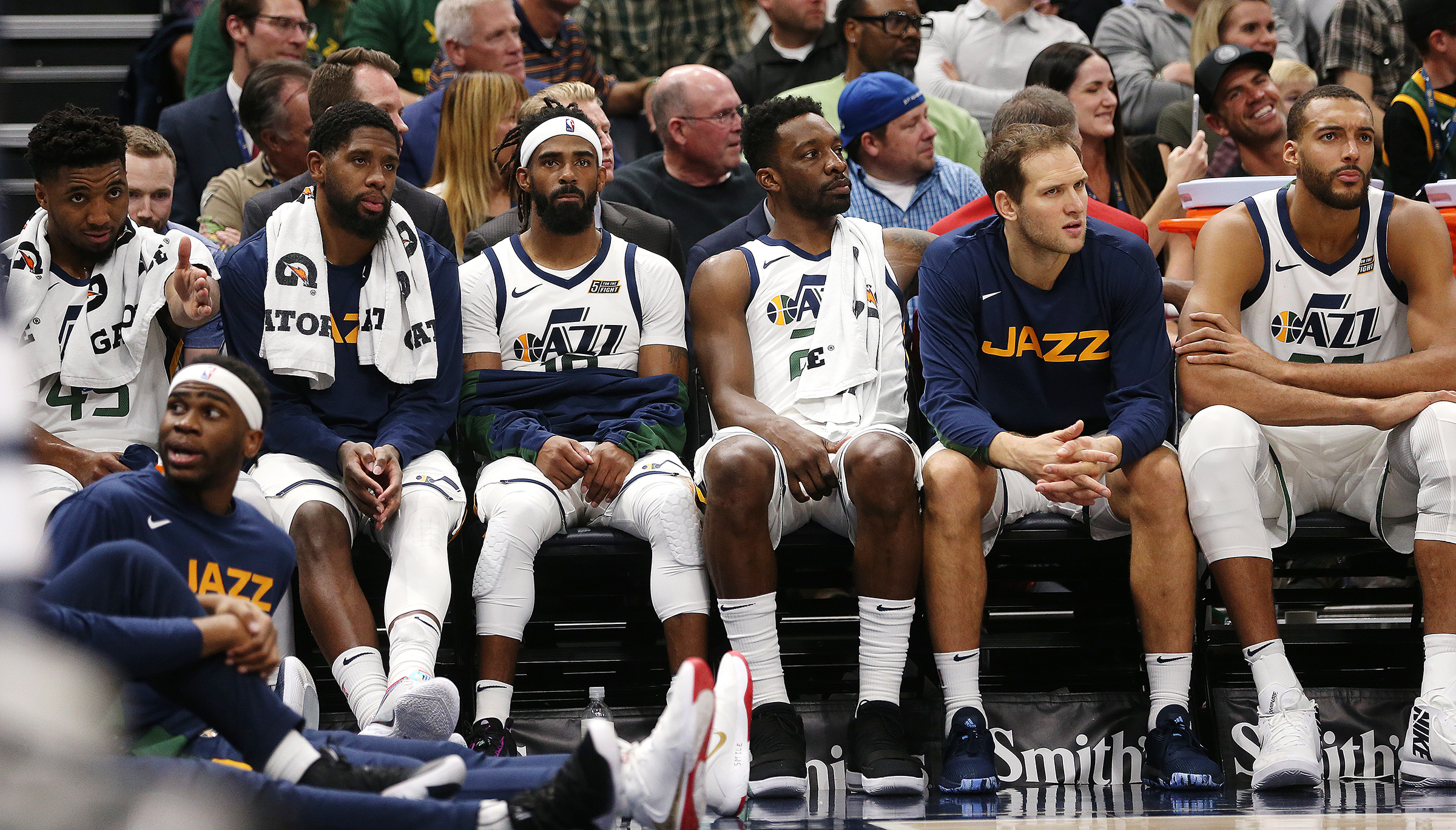 Utah Jazz players watch from the bench during a preseason game with the Portland Trail Blazers at Vivint Smart Home Arena in Salt Lake City on Wednesday, Oct. 16, 2019. Portland won 126-118.