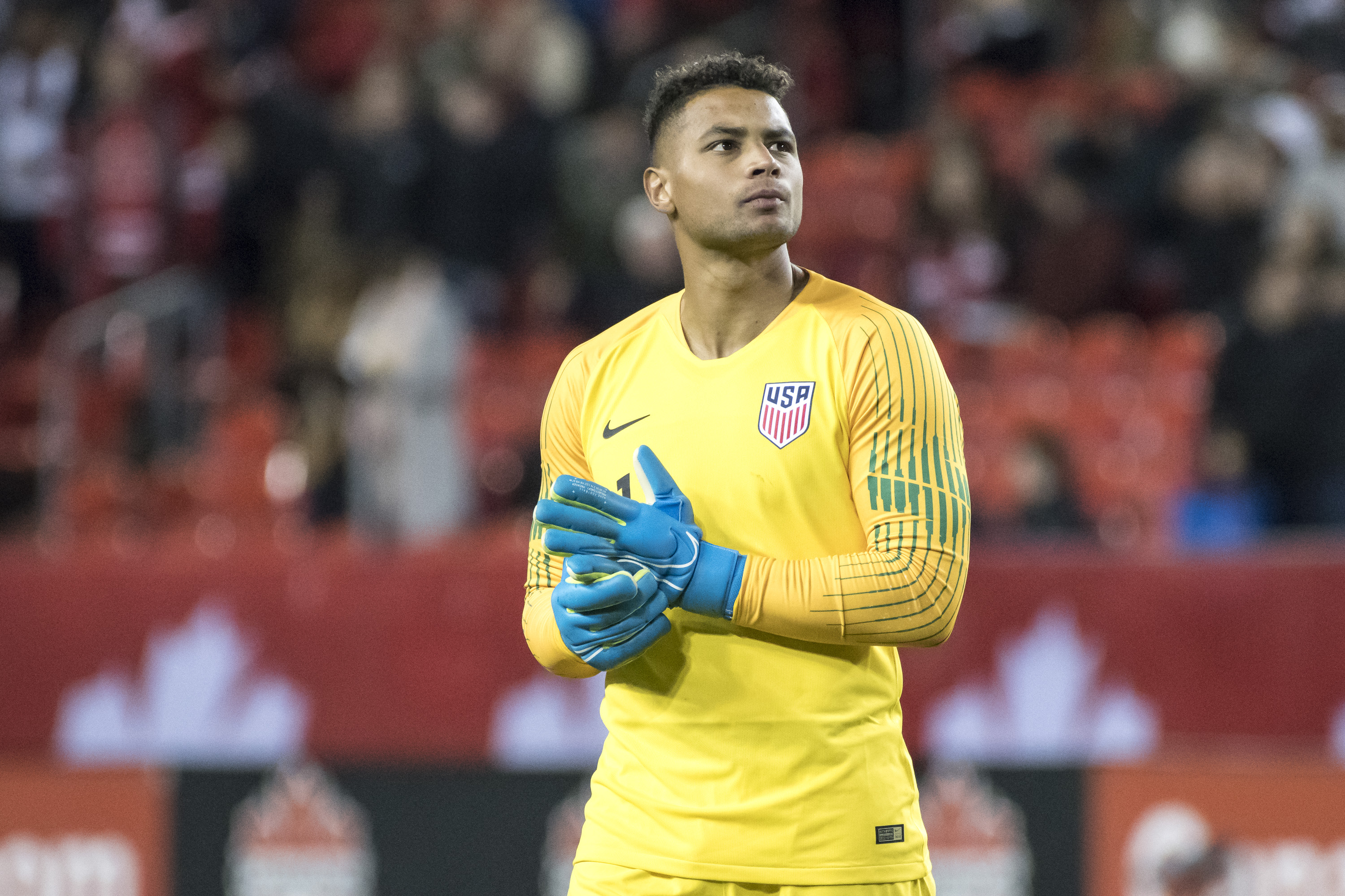 Zack Steffen (1) seen in action during the Nations League...