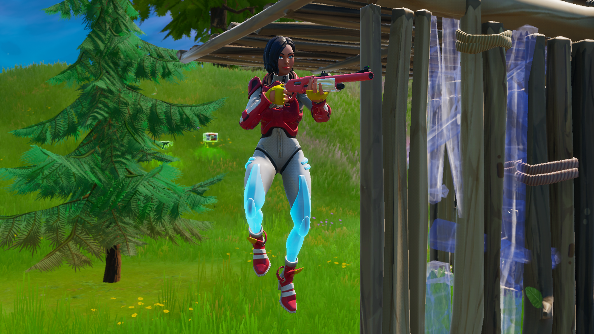 A Fortnite Chapter 2 player with a shotgun jumps in the air