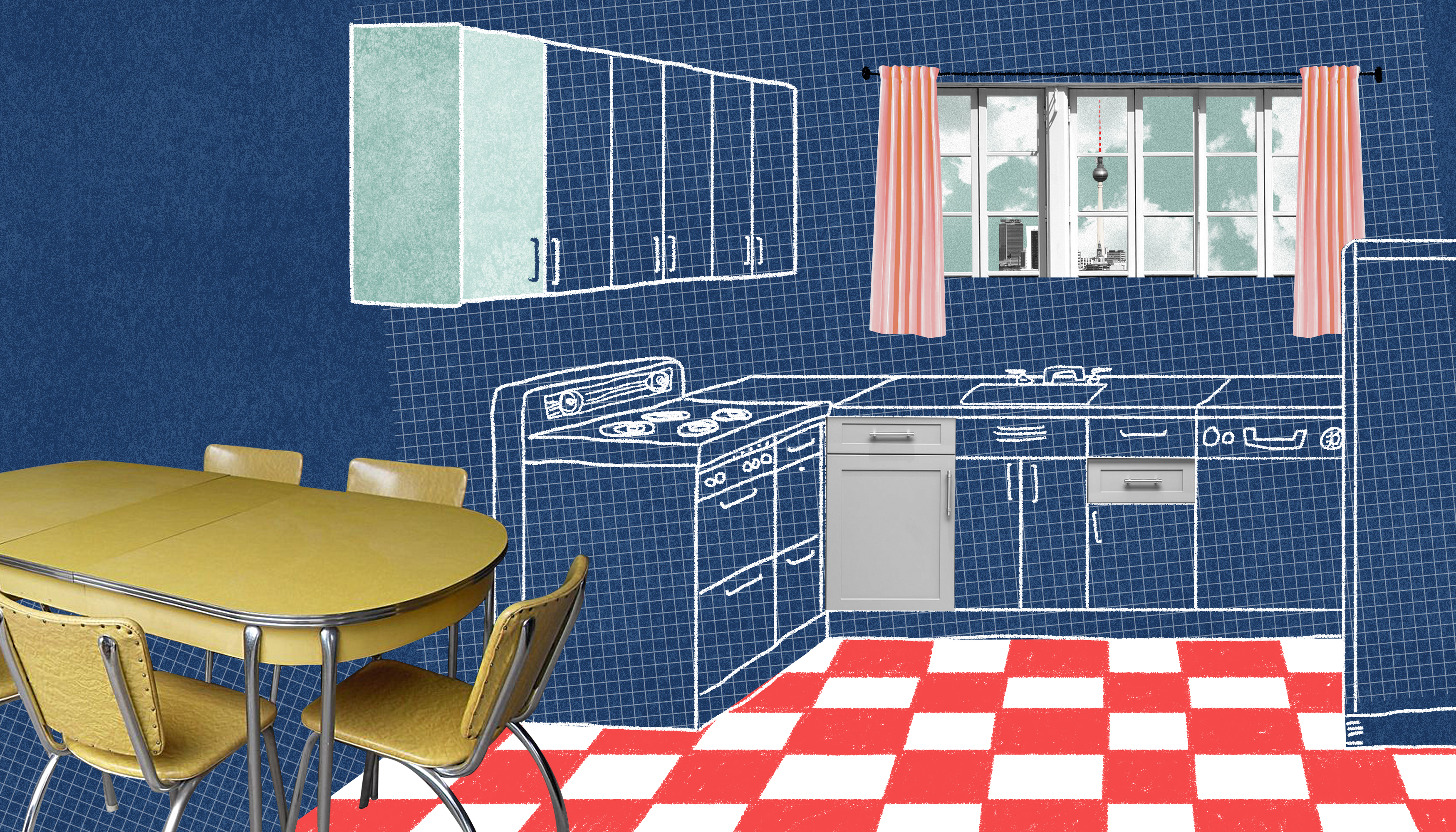 A 1950's style kitchen with a laminate table to the left and tiled checkered floors. Two pink curtains frame a window over the sink. Outside there is a view of the a tall, pointy television tower. Illustration.