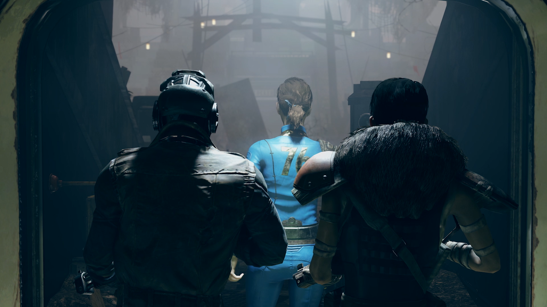 Seen from behind, two roughly costumed figures escort a woman wearing a Vault 76 jumpsuit