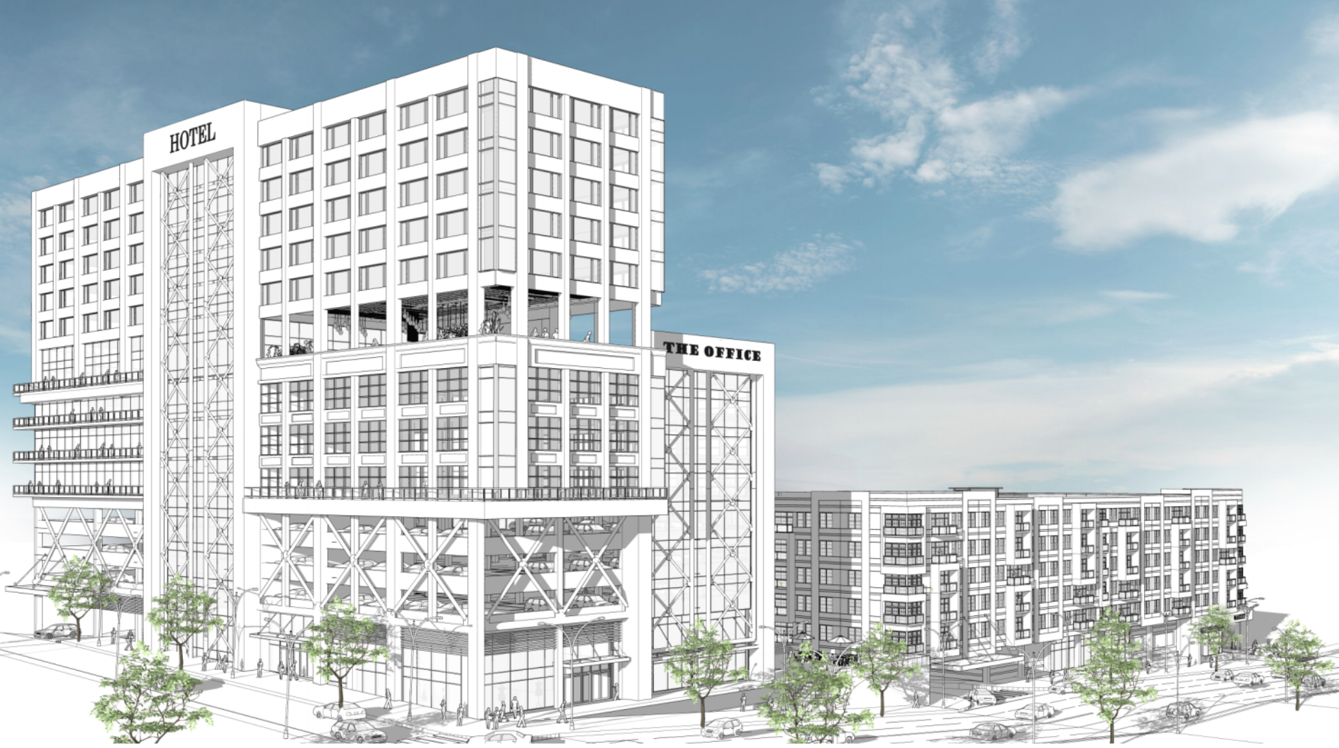 A rendering shows a white (uncolored) hotel stack with a mix of design patterns throughout. The hotel also has an outdoor patio area cut into the middle of the building. The background is a blue sky.