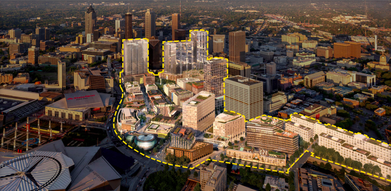 A rendering with many new buildings, tall and short, highlighted that could be built in downtown Atlanta.