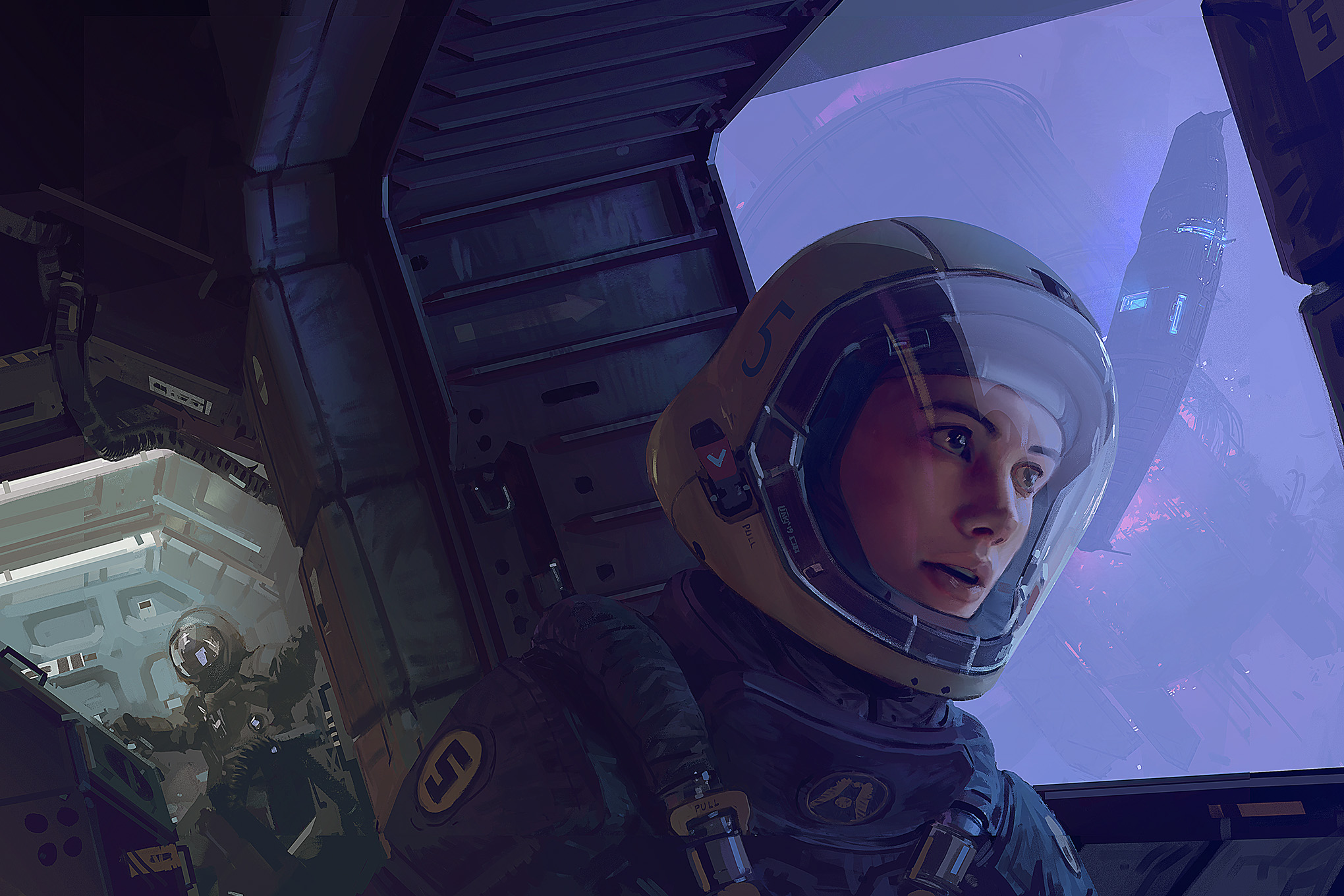 Full cover art for the Homeworld: Revelations tabletop role-playing core rulebook. It shows a humanoid woman with eyes wide, the light of a battle reflecting off the glass of her helmet. In the background looms the iconic form of a Homeworld battleship.