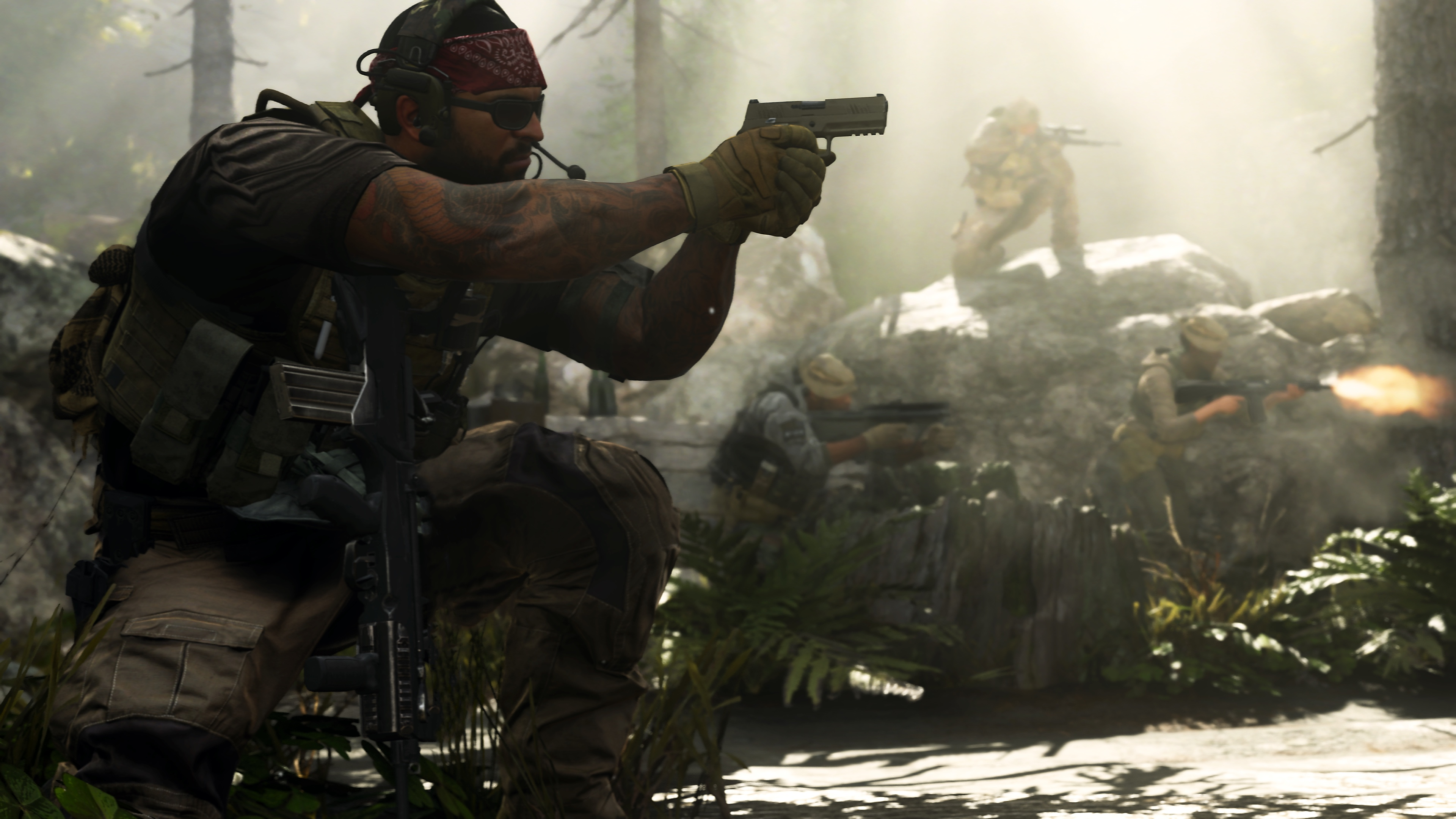 A player wearing sunglasses and a bandana aims a pistol in a rocky forest, with multiple teammates in the background, in a screenshot from Call of Duty: Modern Warfare (2019)