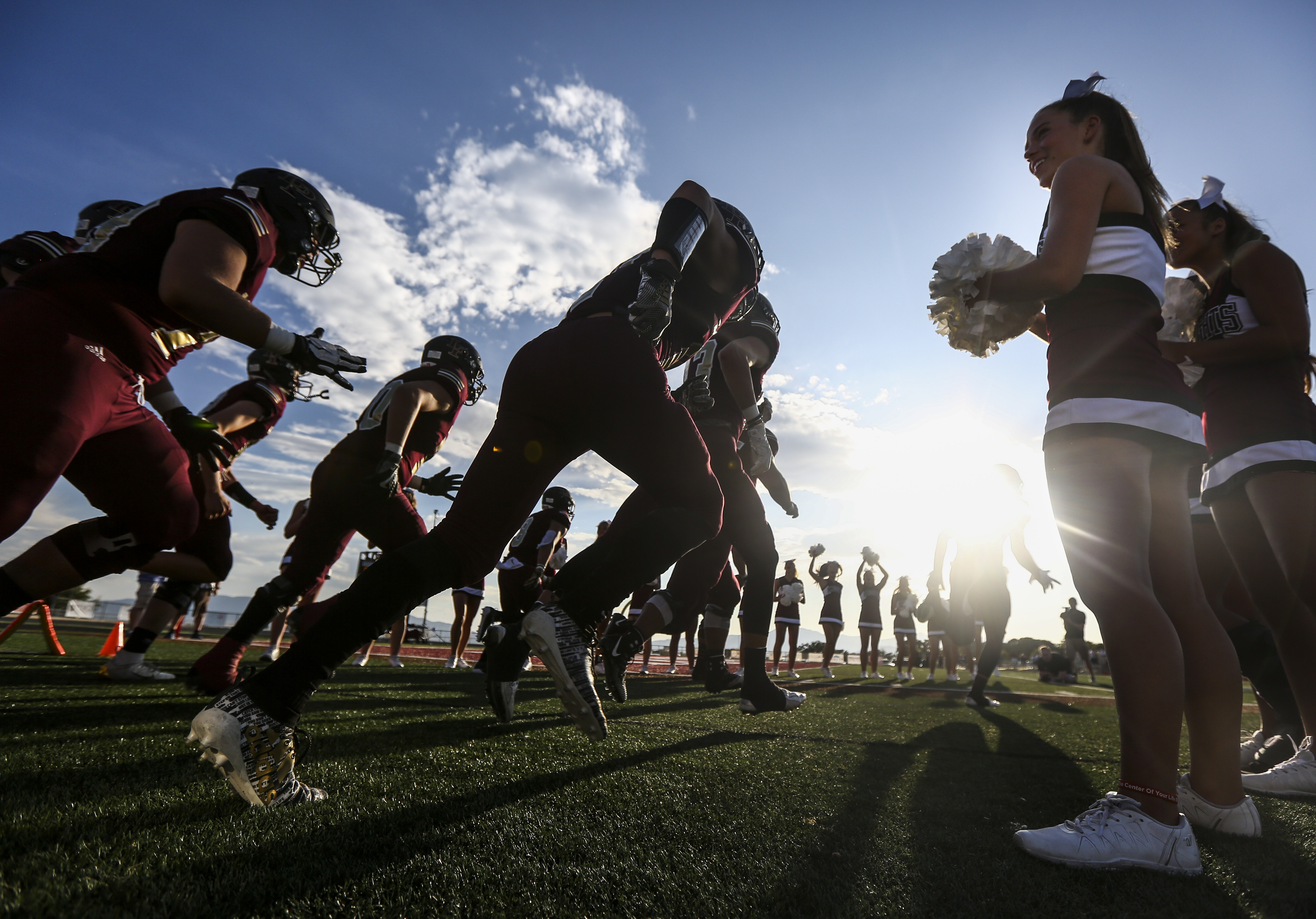 Action during a high school football game between the Lone Peak Knights and the Timpview Thunderbirds at Lone Peak High School in Highland on Friday, Aug. 16, 2019.