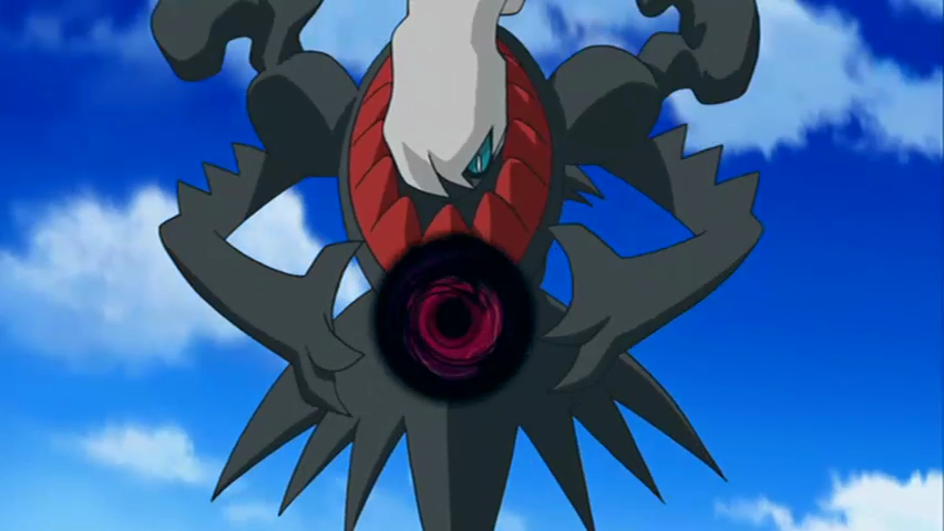 Darkrai charges up a Shadow Ball in the Pokémon anime