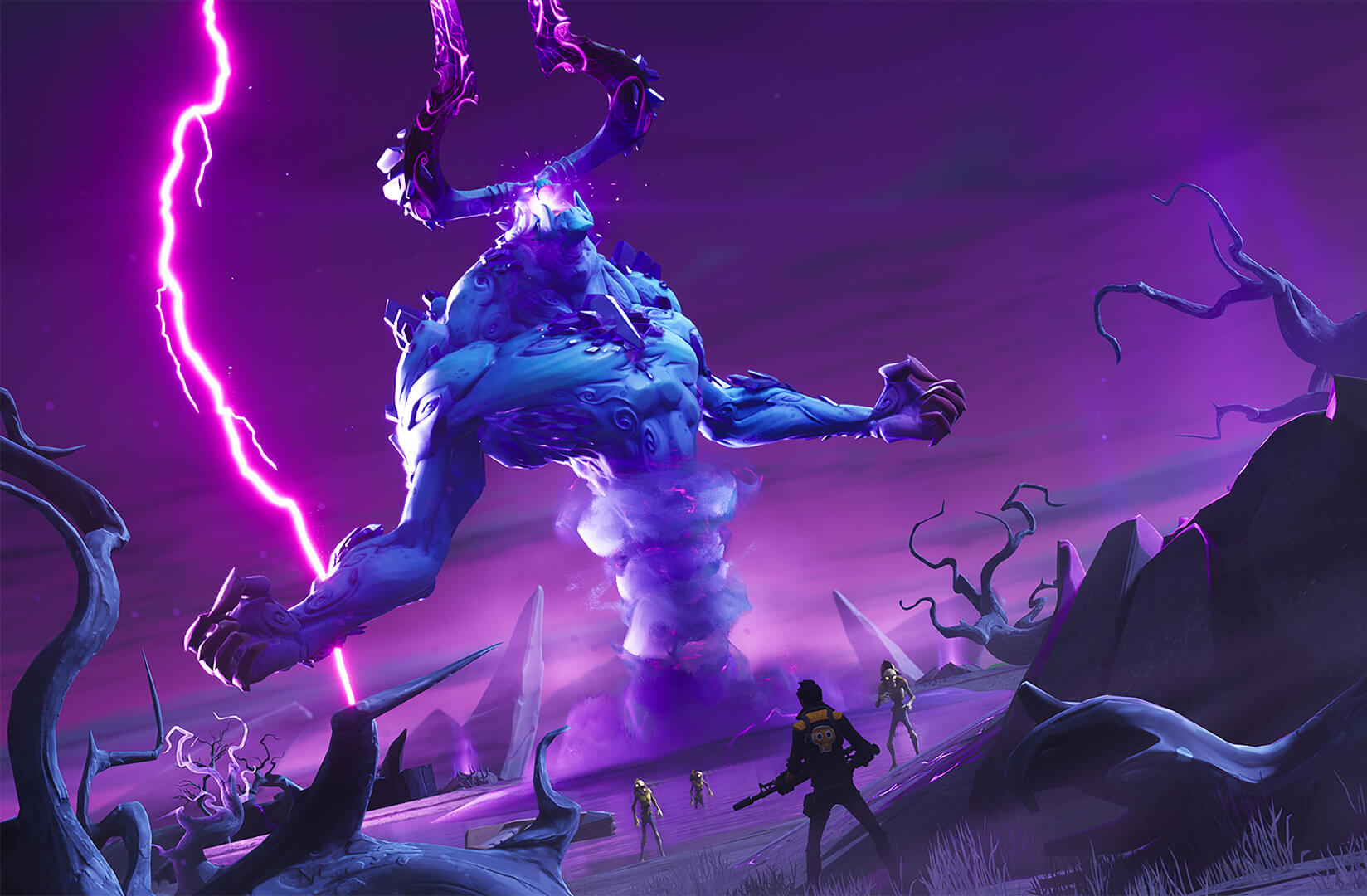 Fortnite: Save the World's Storm King stands in the background as players rush toward the giant boss