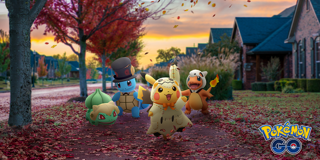 Pikachu, Bulbasaur, Squirtle, and Charmander walk around a neighborhood while dressed as Mimikyu, Shedinja, Yamask, and Cubone, respectively.