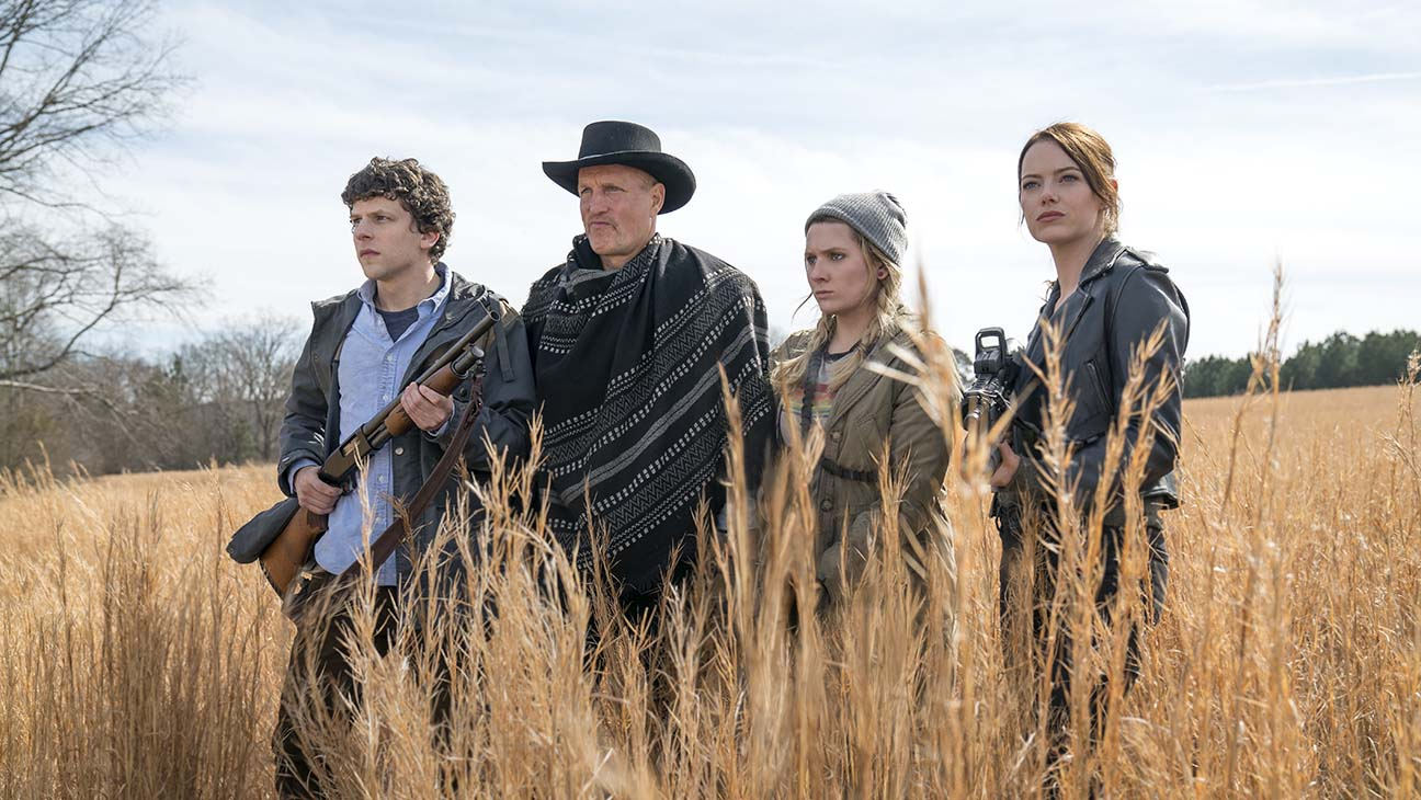 Jesse Eisenberg, Woody Harrelson, Abigail Breslin, and Emma Stone in Zombieland: Double Tap.