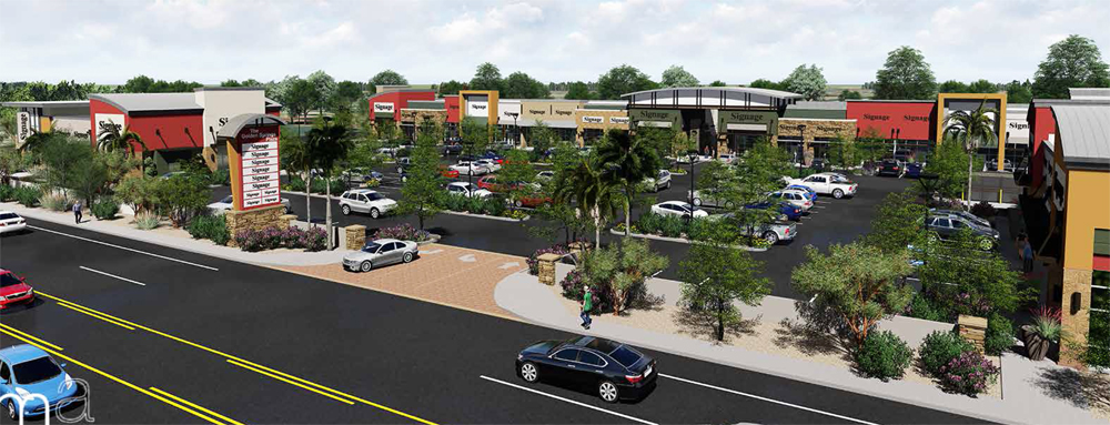 A rendering of the very large Golden Spring Plaza retail hub, under constctuion on Spring Mountain road.