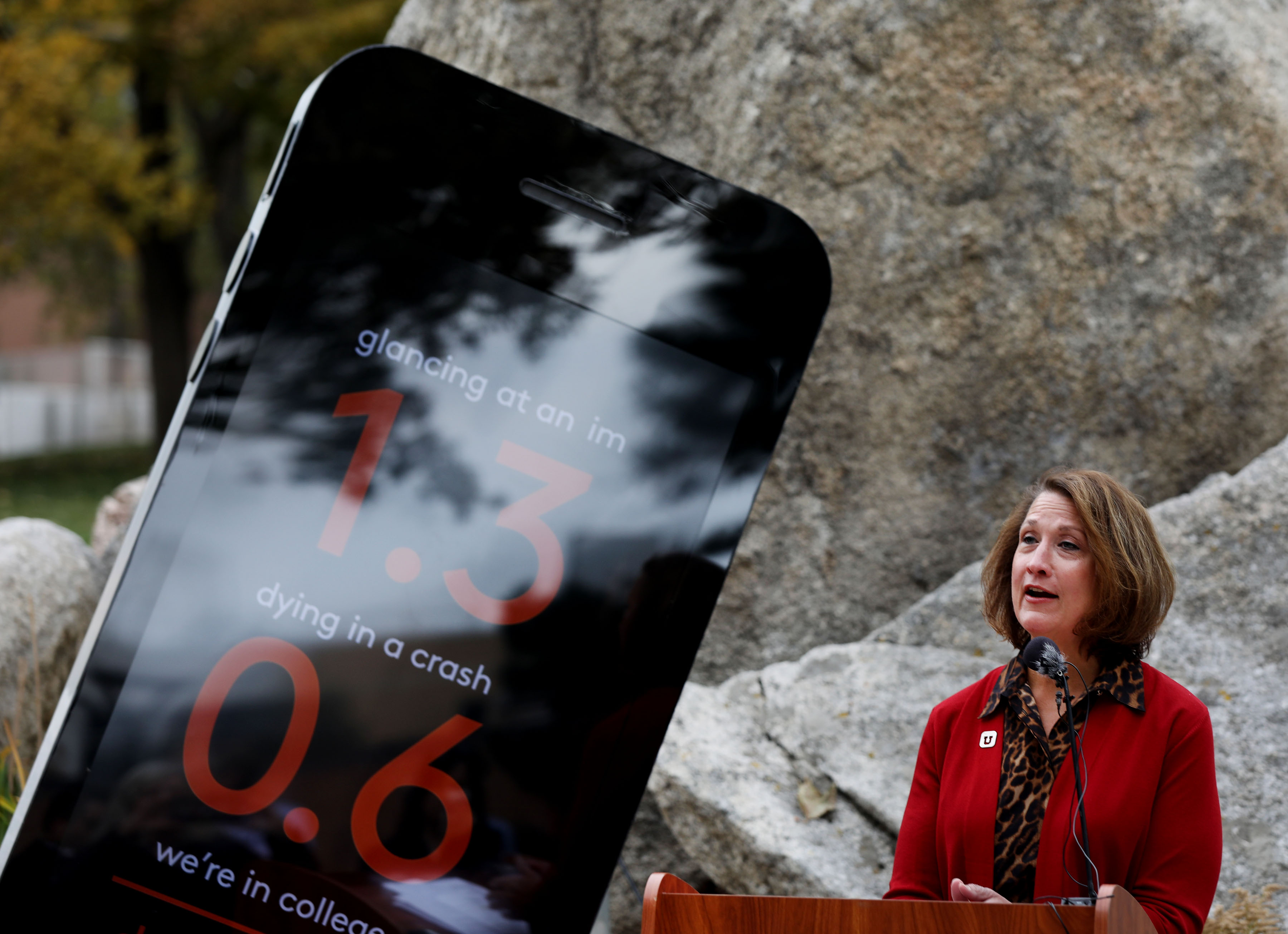 """University of Utah President Ruth Watkins speaks about the new campaign targeting distracted driving at the university in Salt Lake City on Thursday, Oct. 17, 2019. The """"You drive. I'll text"""" campaign encourages students to be active and attentive passengers by speaking up whenever they notice their drivers are distracted."""