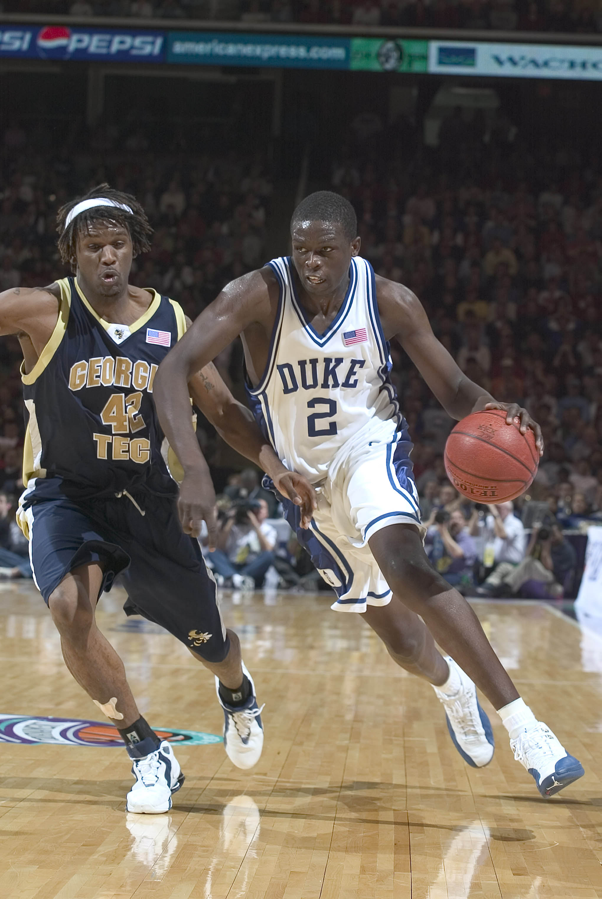 13 March 2004: Luol Deng of the Duke Blue Devils during the Devils 85-71 victory over the Georgia Tech Yellow Jackets in the ACC Tournament semifinal at the Greensboro Coliseum in Greensboro, NC.