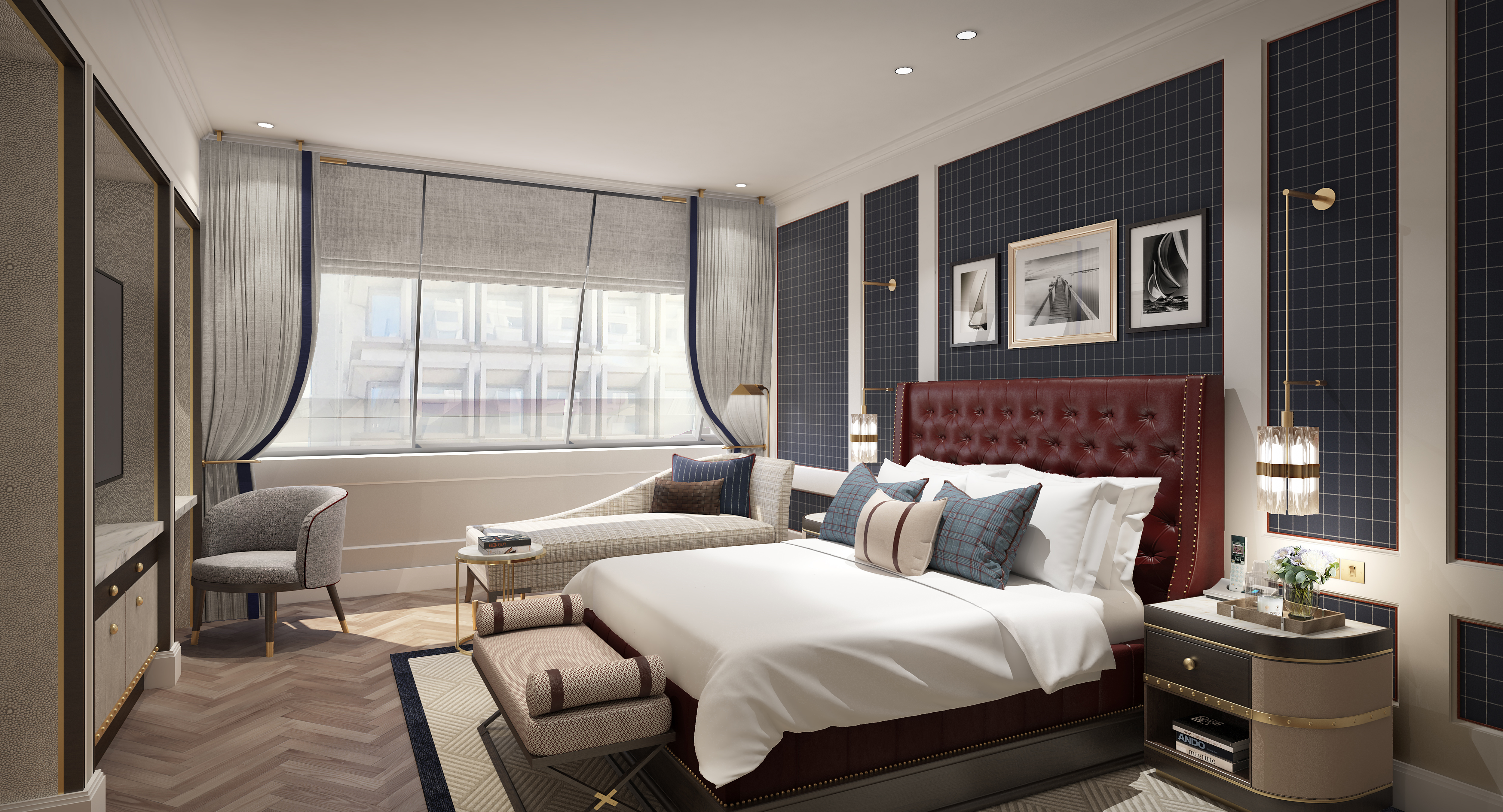 Rendering of a large hotel room with a bed.