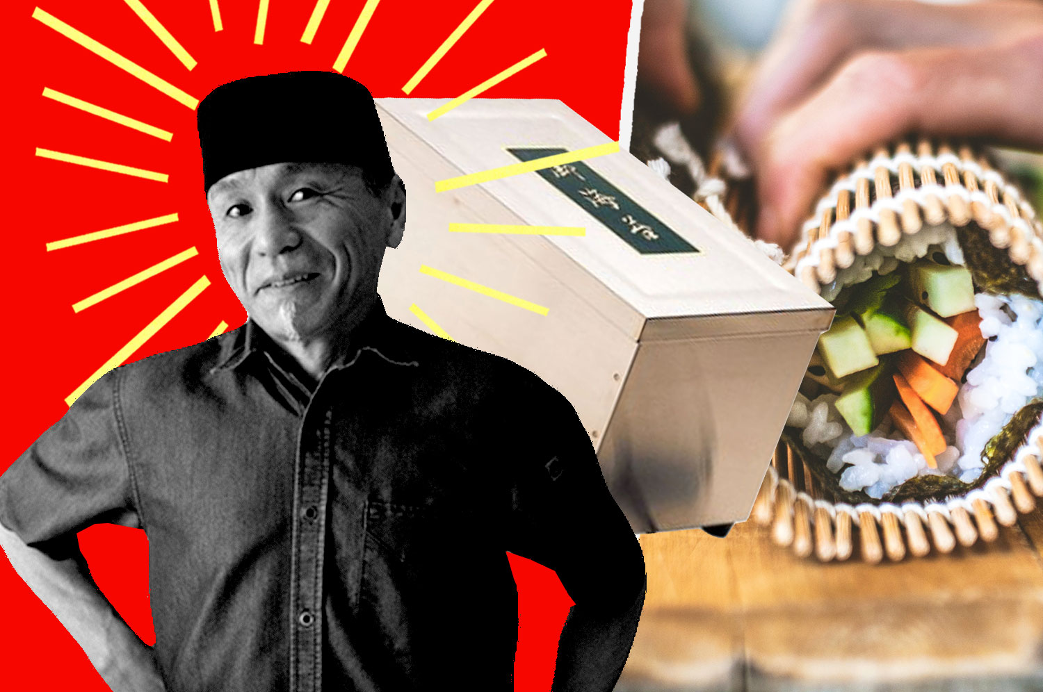 A portrait of chef Kiminobu Saito in a collage with a Korin electric seaweed warmer and a sushi hand roll
