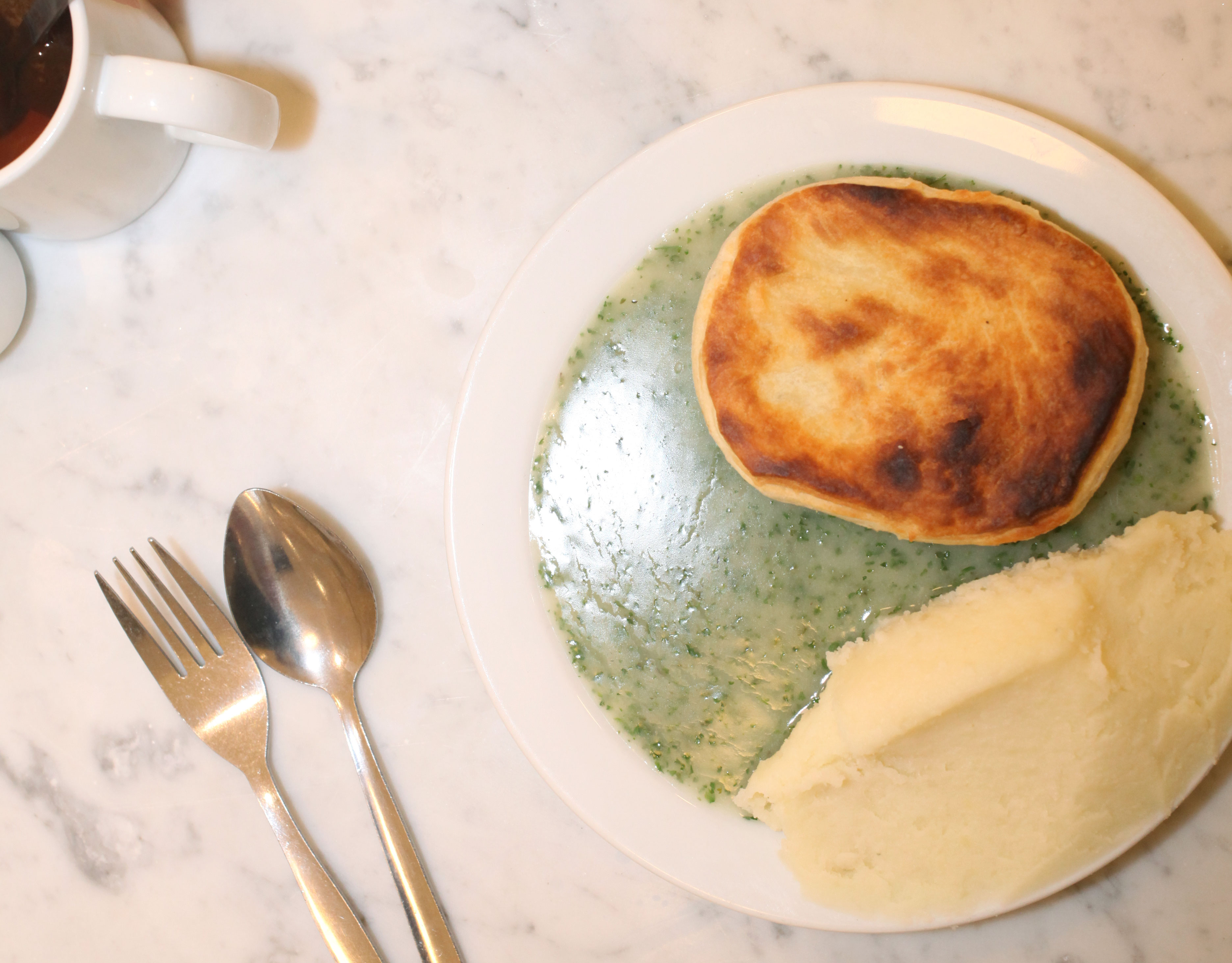 Pie, mash, and liquor at G. Kelly on Roman Road in east London