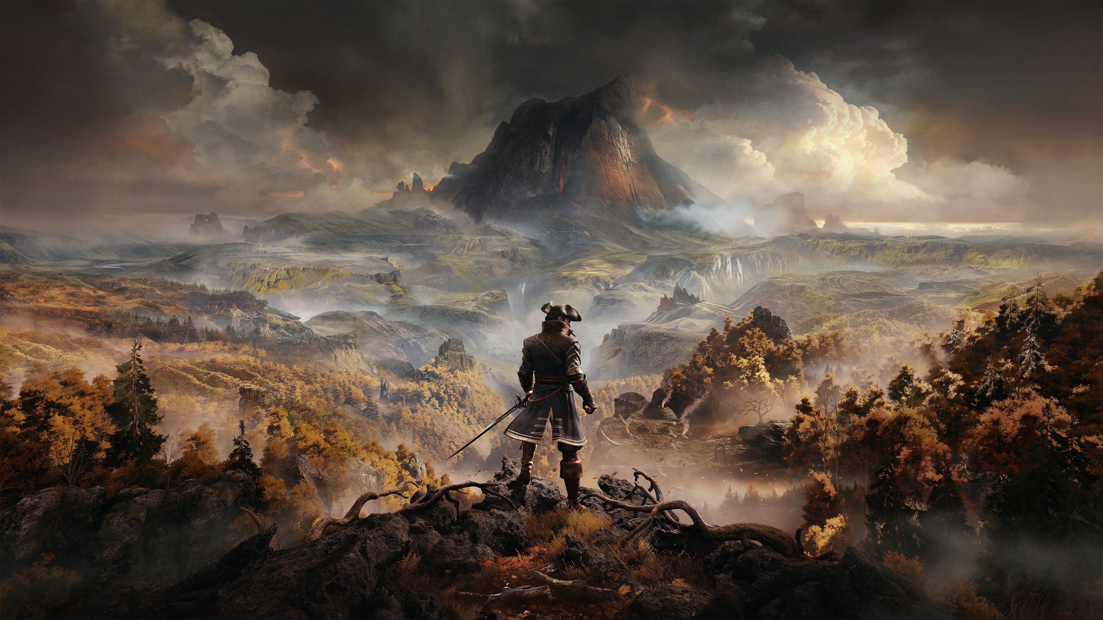 artwork from GreedFall of a man dressed in colonial-era garb, with a cutlass at his side, standing on a cliff with an autumnal vista and a mountain ahead of him