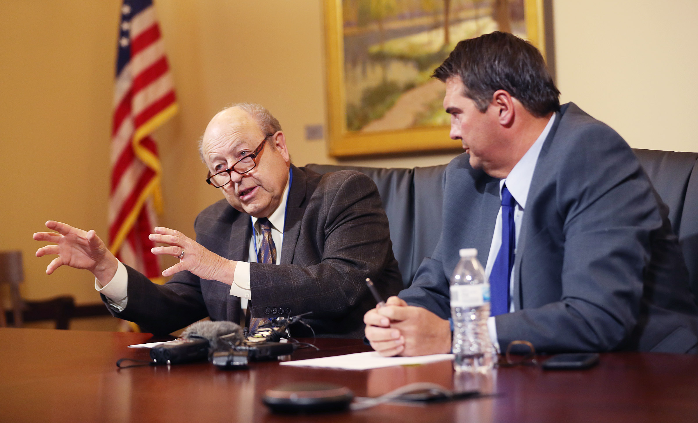 Sen. Lyle Hillyard, R-Logan, left, and Rep. Francis Gibson, R-Mapleton, co-chairmen of the Tax Restructuring and Equalization Task Force, answer questions about a draft tax law change during a media availability at the Capitol in Salt Lake City on Friday, Oct. 18, 2019.