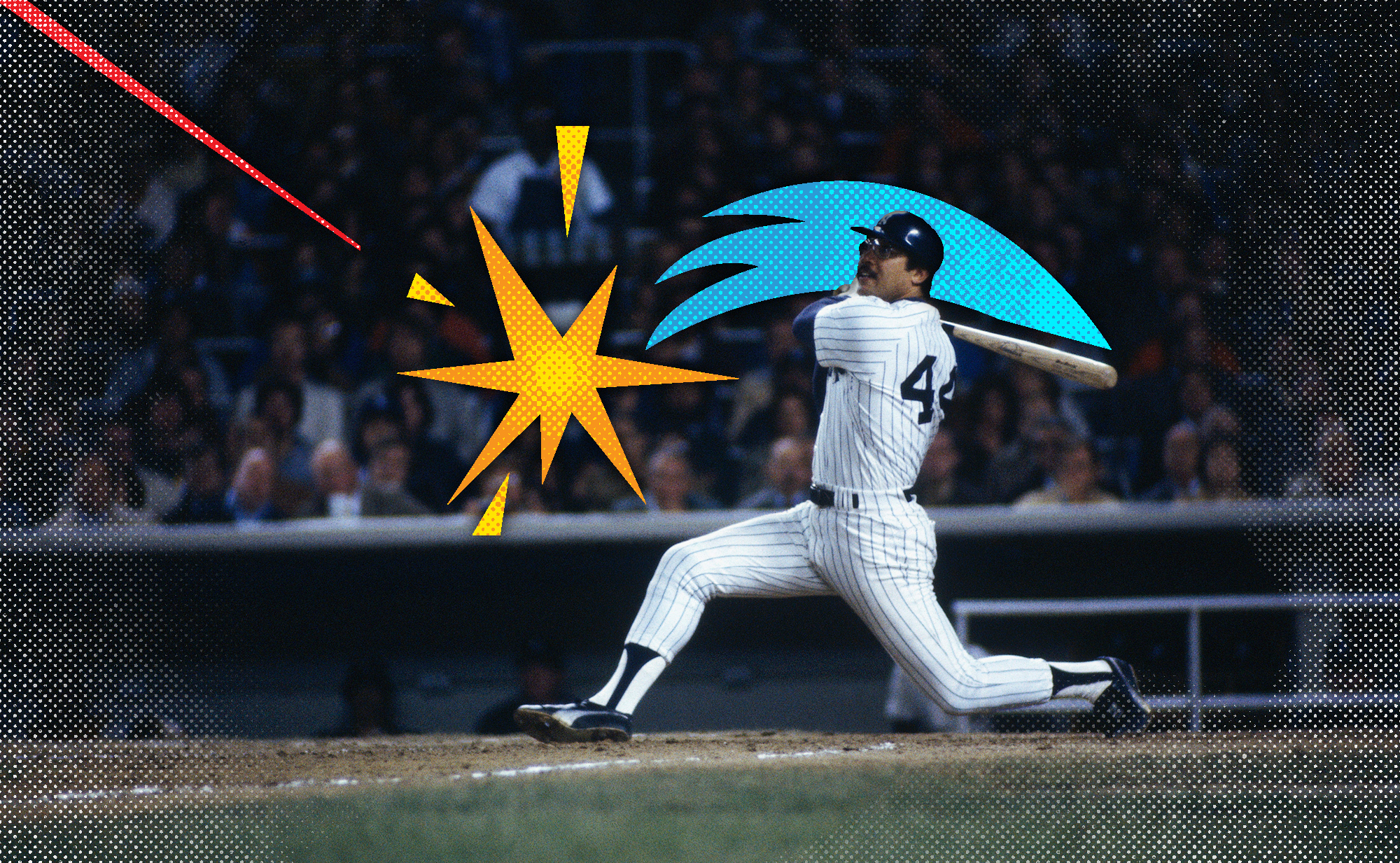 Photo of Reggie Jackson hitting a home run for the Yankees with pop art graphics showing the swing and crack of the bat, and the trajectory of the ball.