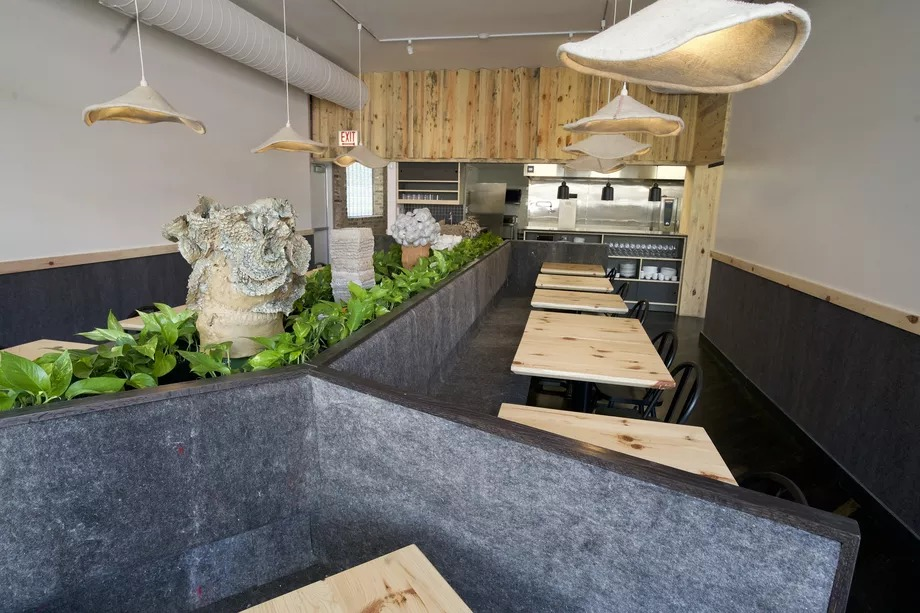The dining room features tables made from salvaged wood, hanging lights, and plants.