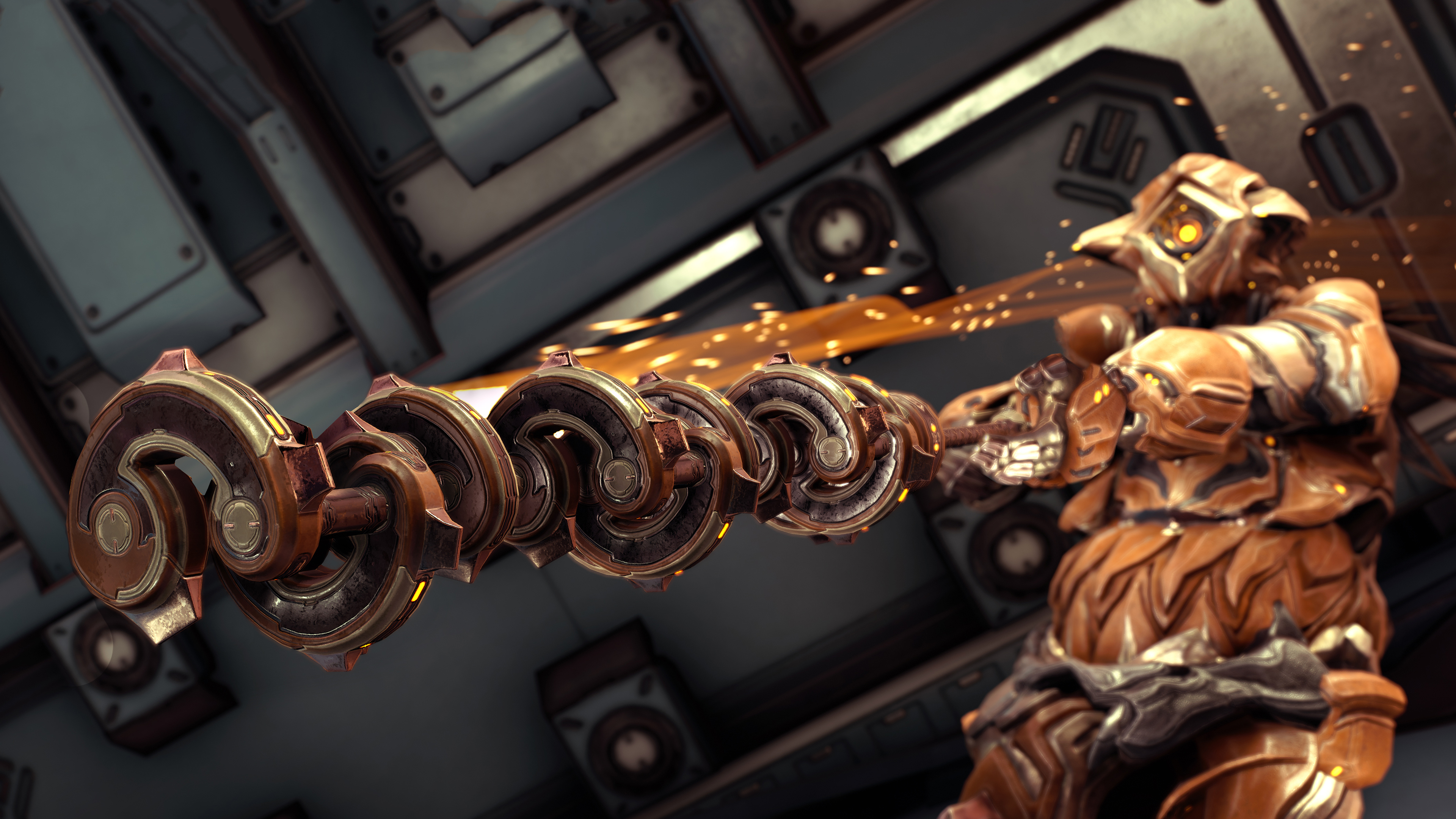 Warframe - an action shot of Grendel, the newest character, swinging his sword.