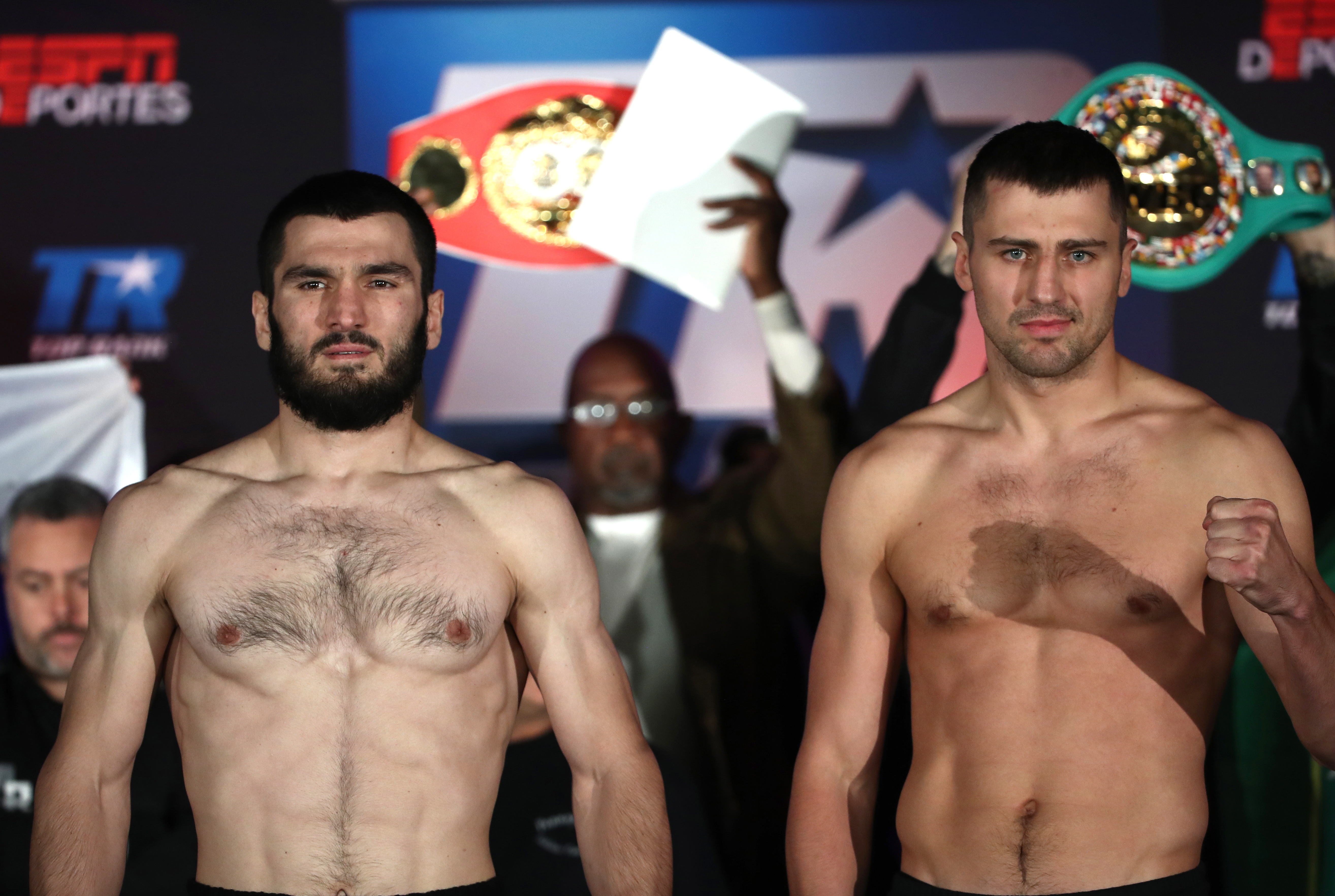 Artur Beterbiev and Oleksandr Gvozdyk weigh in before WBO light heavyweight title fight