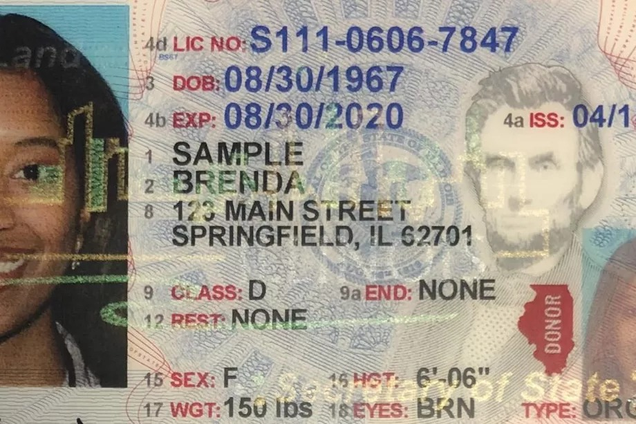 An example of an Illinois Real ID driver's license