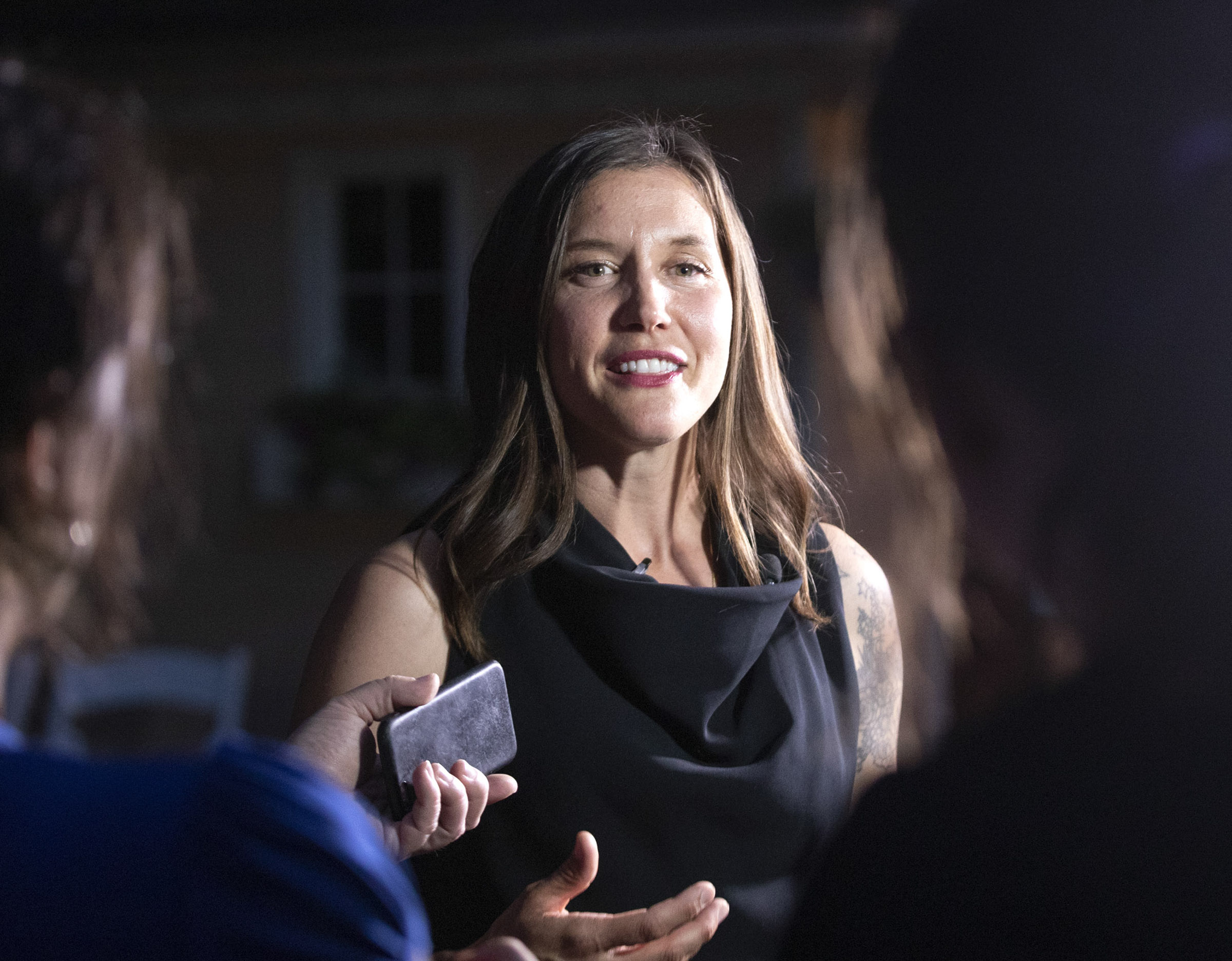 Salt Lake City Councilwoman Erin Mendenhall talks with members of the media during her mayoral primary election night event in Salt Lake City on Tuesday, Aug. 13, 2019.