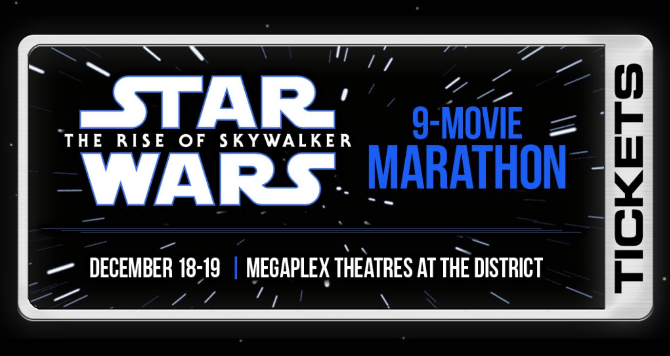 "A screenshot of the Megaplex Theatres' website for the ""Star Wars Marathon."""