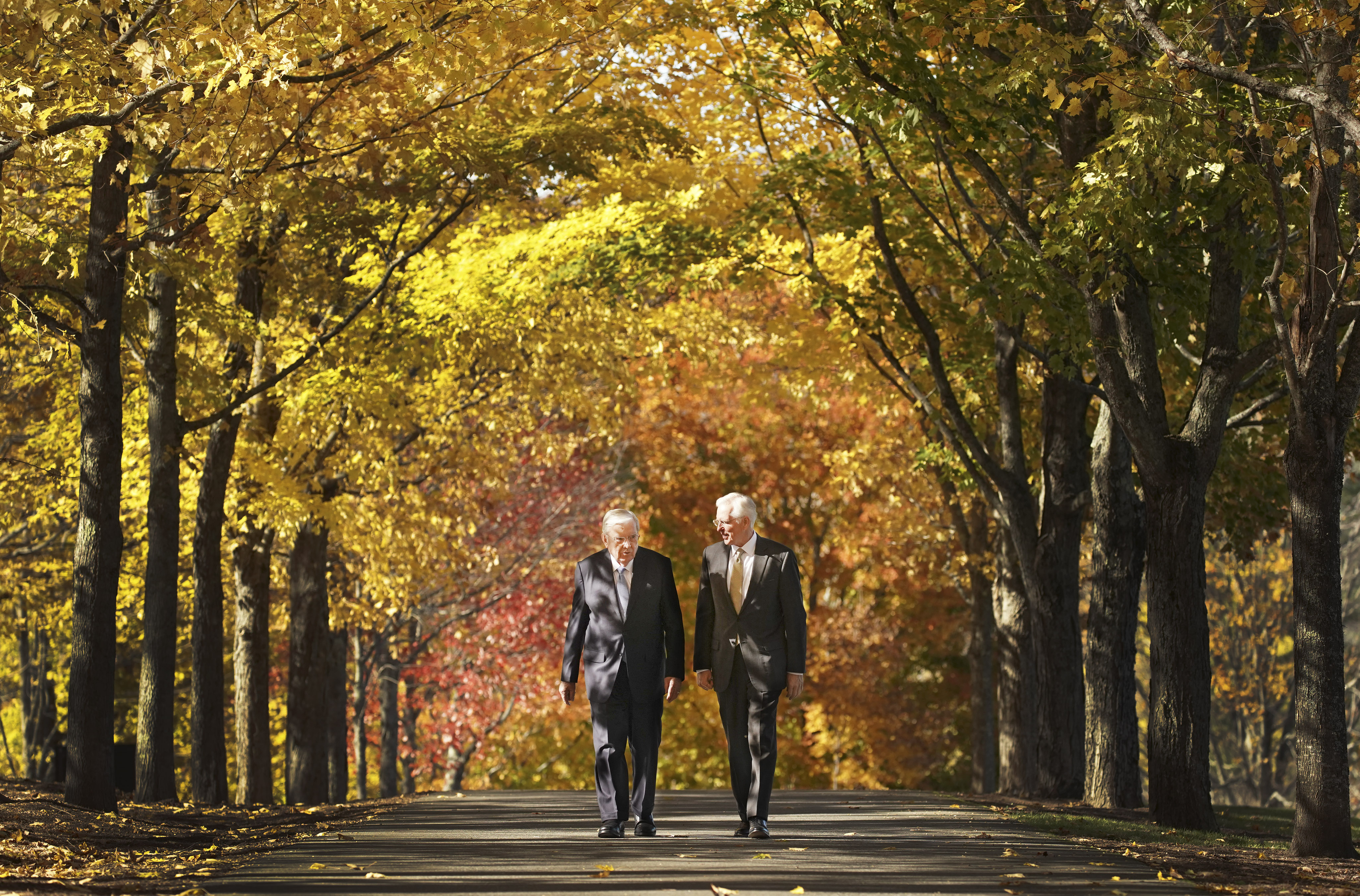 President M. Russell Ballard, acting president of the Quorum of the Twelve Apostles of The Church of Jesus Christ of Latter-day Saints, and Elder D. Todd Christofferson, of the church's Quorum of the Twelve Apostles, walk at the Joseph Smith Birthplace Memorial in Sharon, Vt., on Saturday, Oct. 19, 2019.