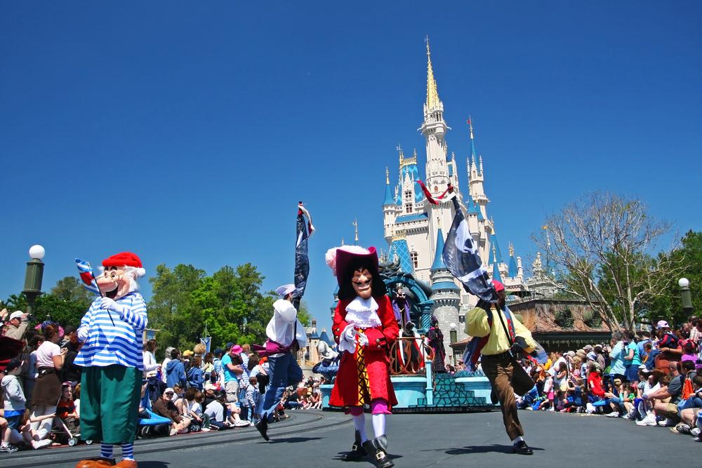 Many Disney cartoon characters march in a parade, greeting visitors at Magic Kingdom at Walt Disney World in Orlando, Florida on March 26, 2008.