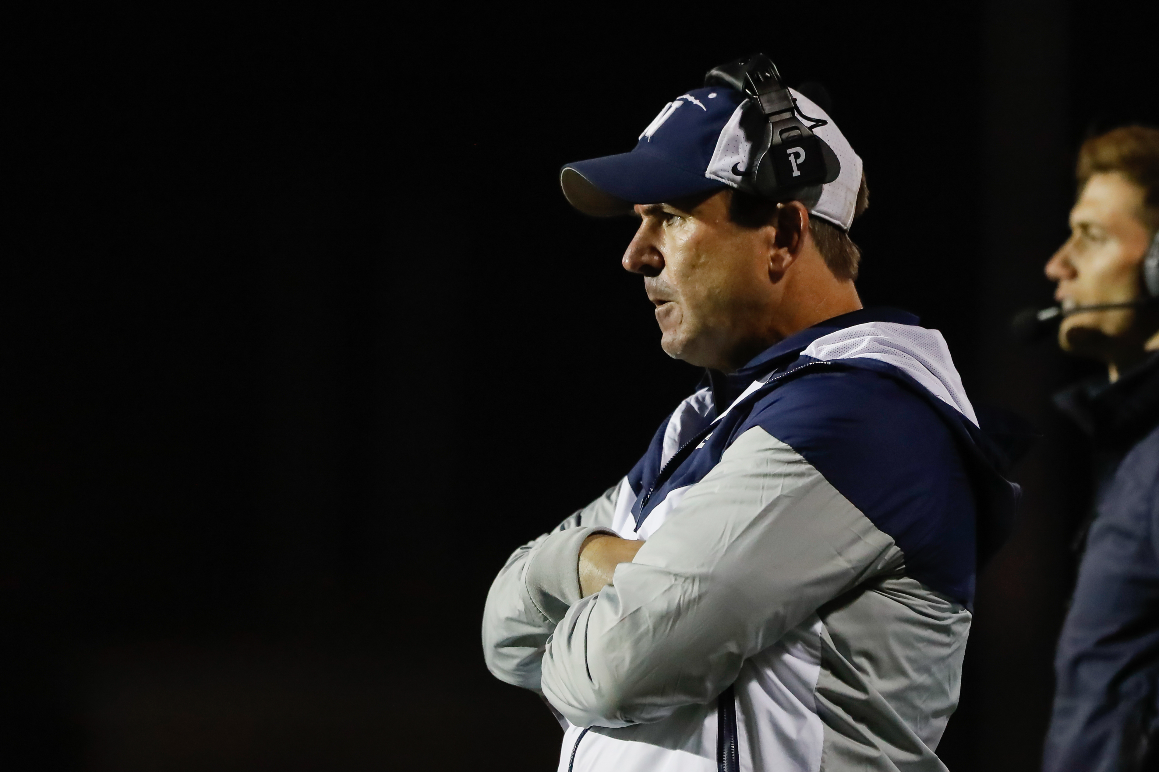 Nazareth coach Tim Racki looks on during the game against Notre Dame.
