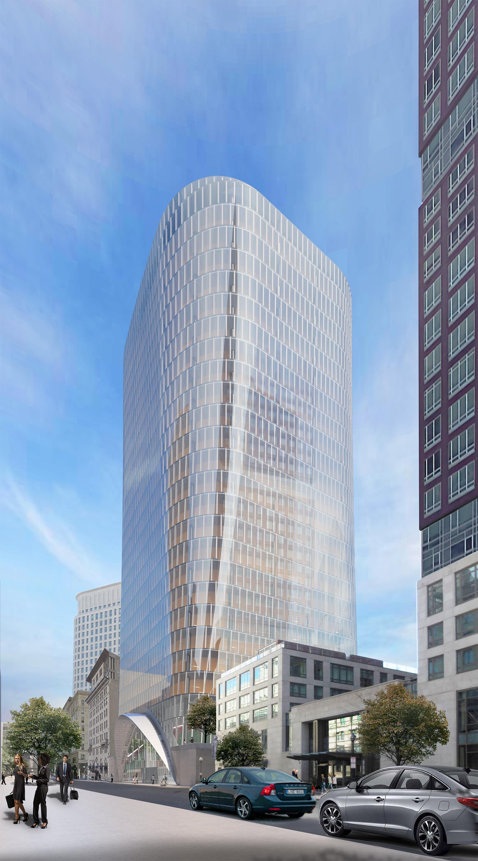 Rendering of a curvy, glassy office tower.