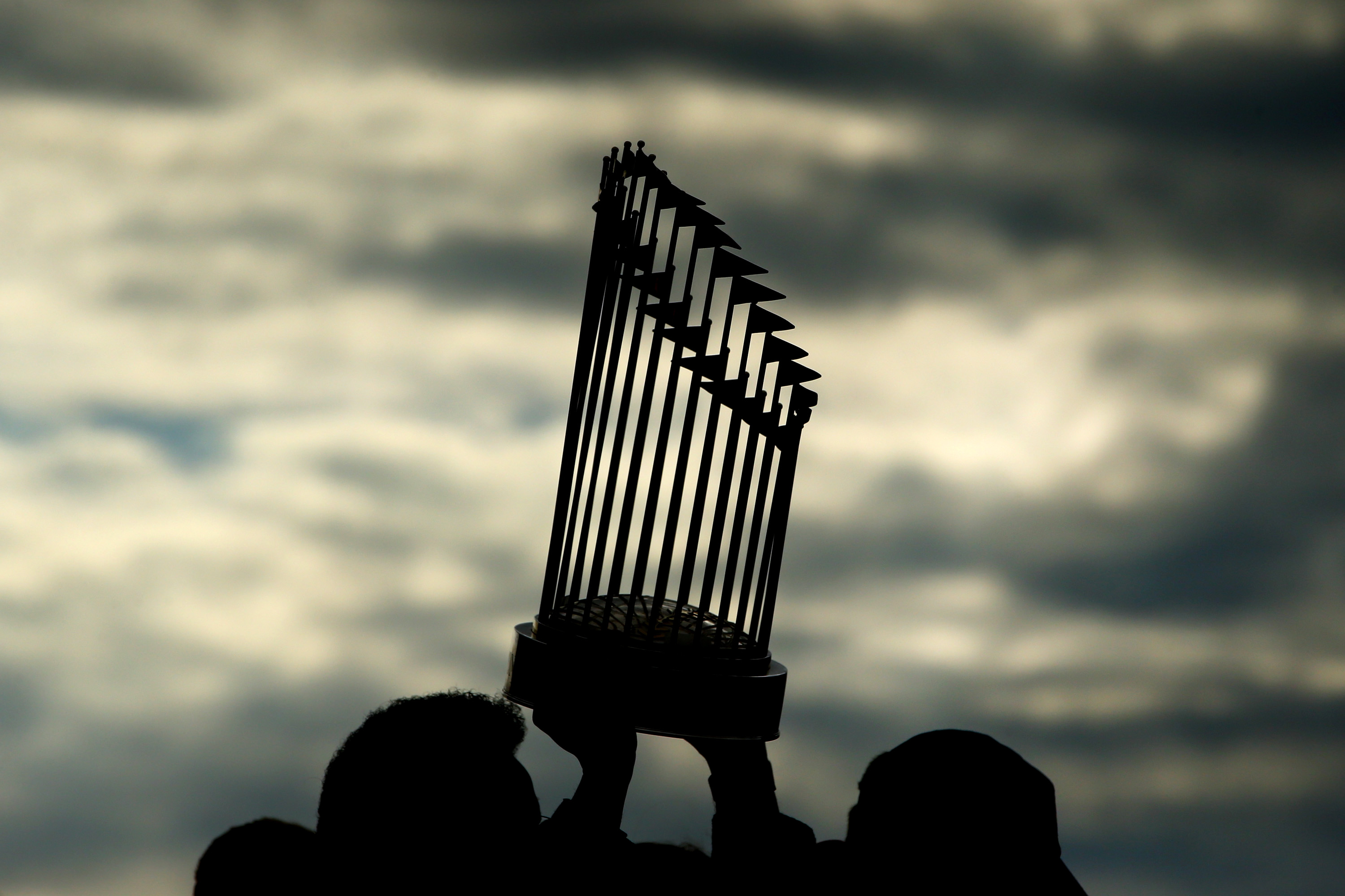 The Astros and Nationals both hope to win the World Series trophy, pictured here in a generic photo against a pretty sky.