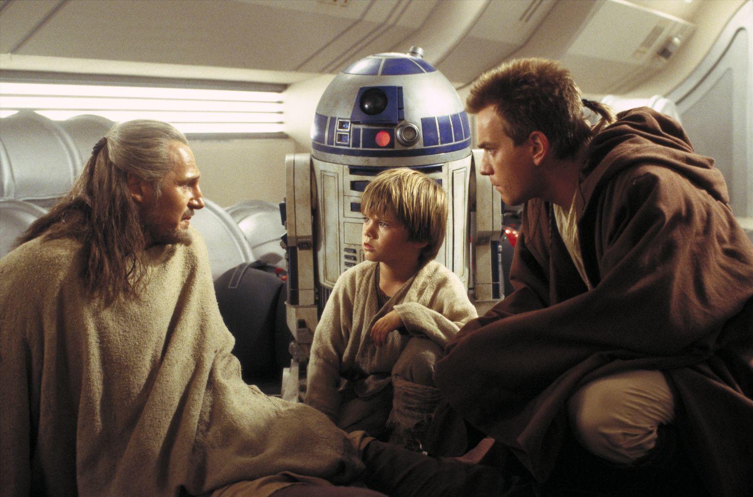 "From left: Qui-Gon Jinn (Liam Neeson), Anakin Skywalker (Jake Lloyd) and Obi-Wan Kenobi (Ewan McGregor) appear in a scene from ""Star Wars Episode I: The Phantom Menace."""