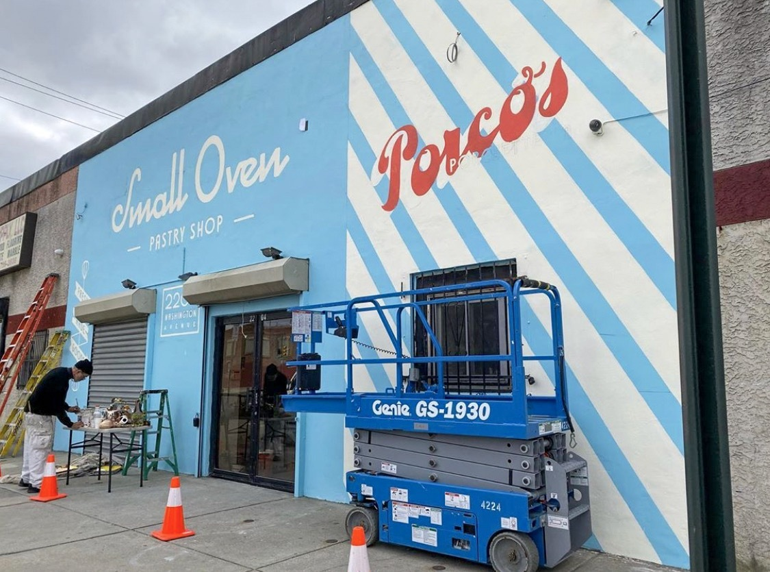 storefront painted bright blue