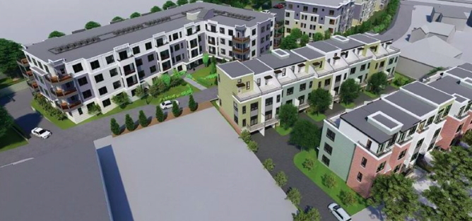 Aerial rendering of a multi-building project with landscaping.